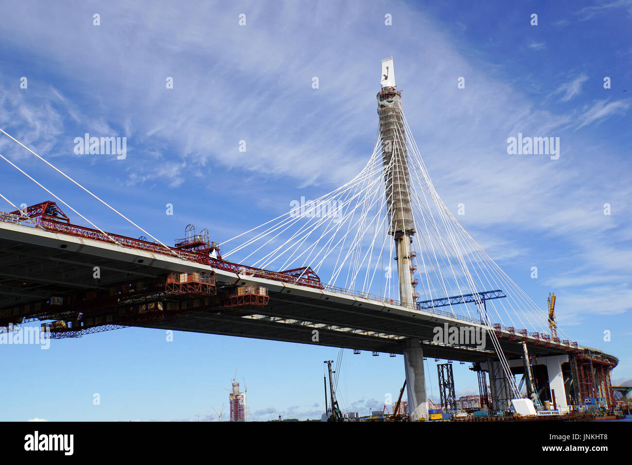 Construction of the new Bridge in St. Petersburg, Russia September 2016 - Stock Image
