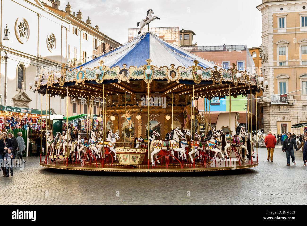 Rome, Italy, carousel in Piazza Navona - Stock Image