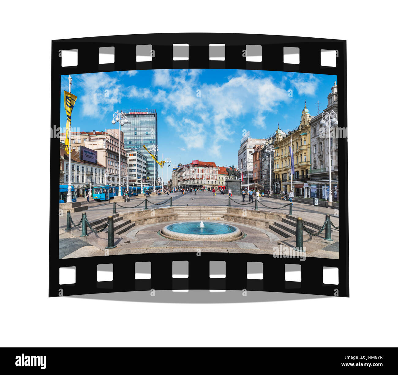 The Ban Jelacic square is the central square of the Croatian capital. It is located in the lower town (Donji grad) from Zagreb, Croatia, Europe - Stock Image