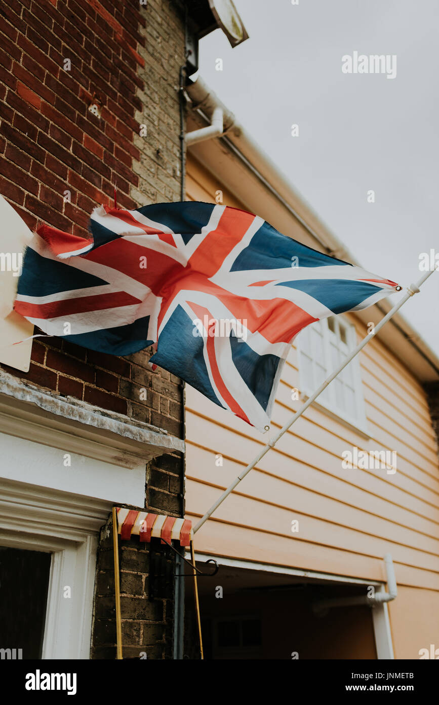 Great Britain flag on wall of historic building - Stock Image