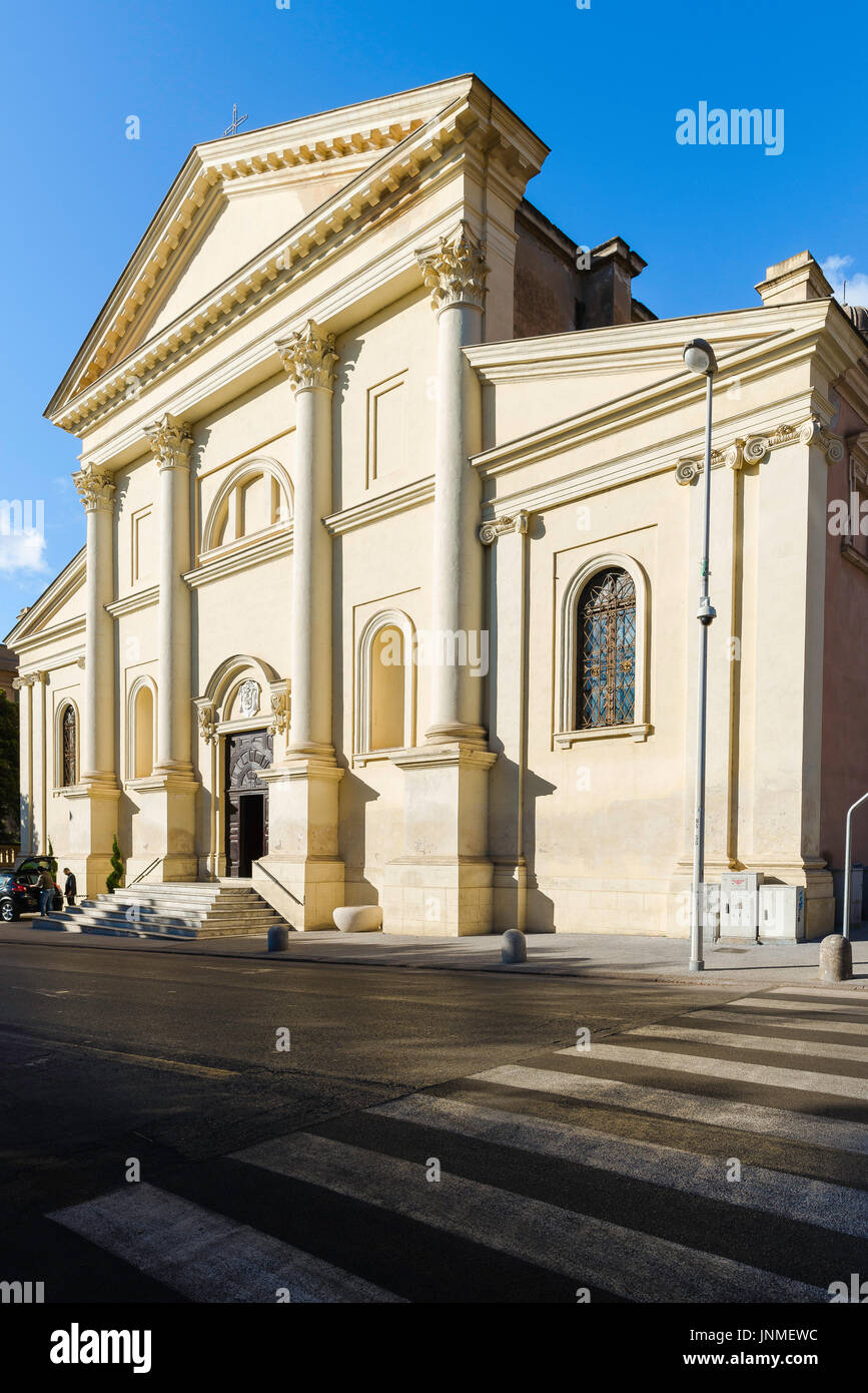 The neoclassical facade of the Chiesa San Giuseppe church in Sassari, Sardinia. Stock Photo