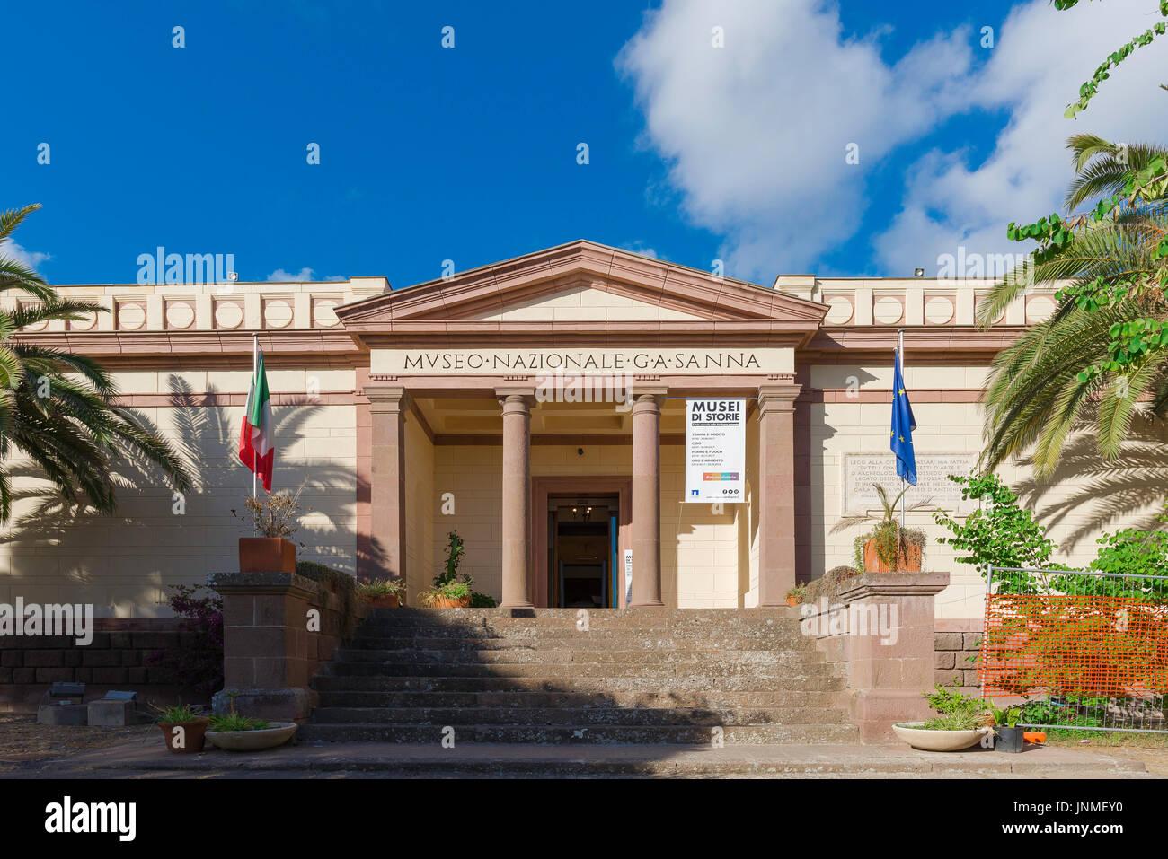 Sassari Sardinia museum, neoclassical facade of the Museo Sanna in Sassari, Sardinia's second most important archaeological museum. - Stock Image