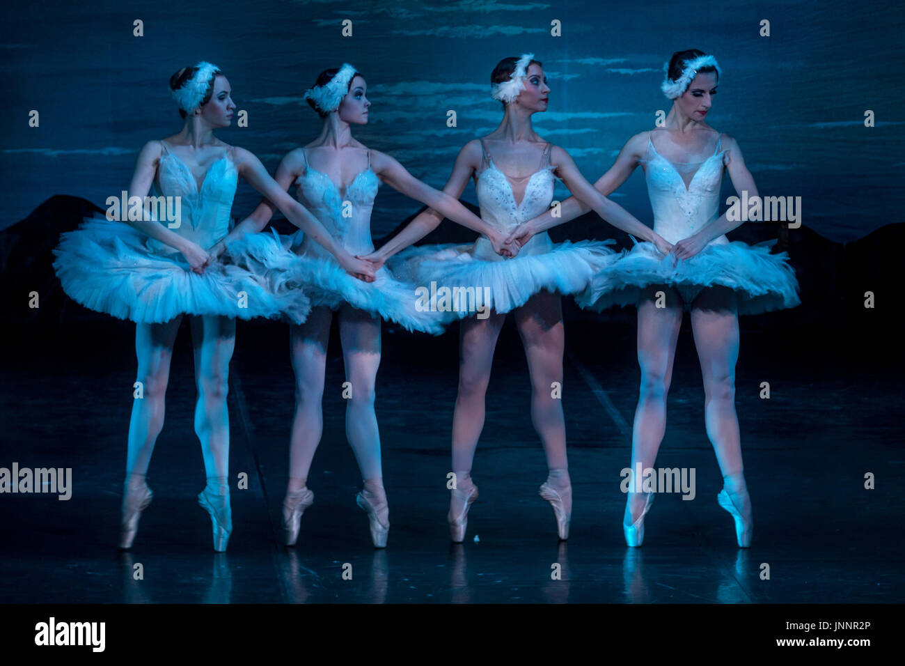 """Scene from the ballet 'Swan Lake' of The Moscow Ballet of Classical Choreography """"La Classique"""" on the stage in Moscow, Russia - Stock Image"""