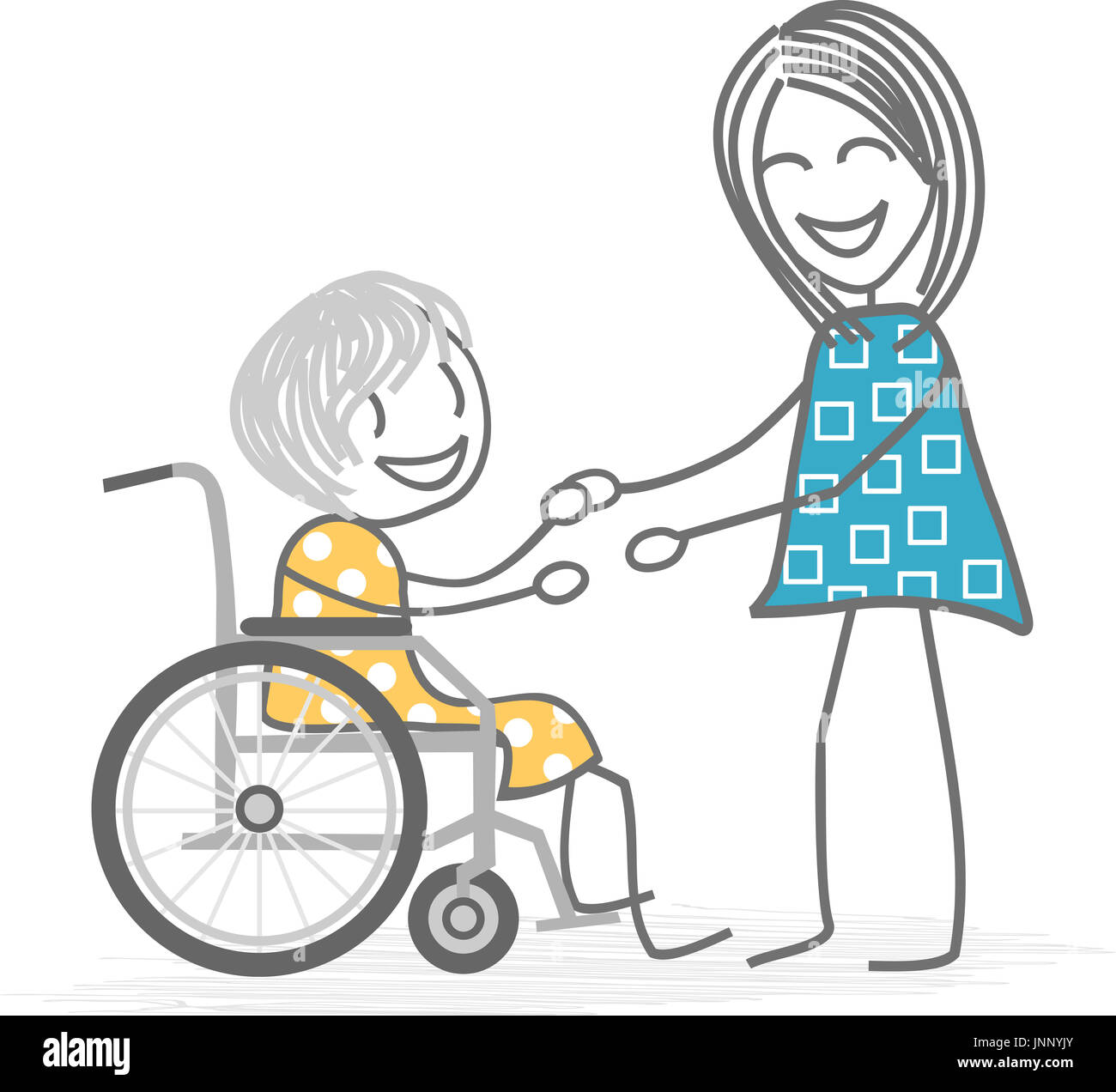 An old woman in a wheelchair is helped by a person standing, friend, nurse or family person - Stock Image