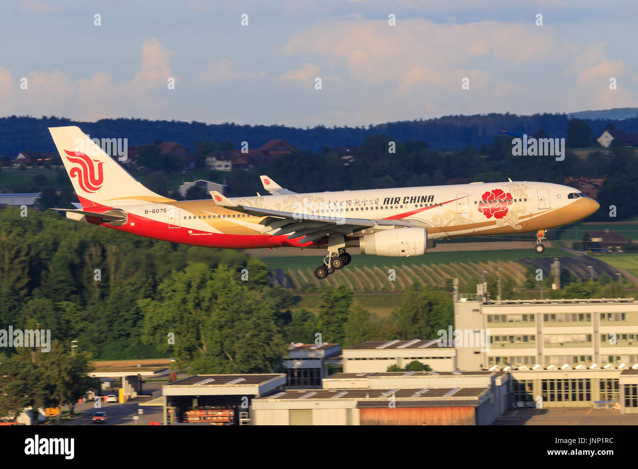 Zürich/Switzerland July 30, 2017: A330 from Air China at Zürich. - Stock Image