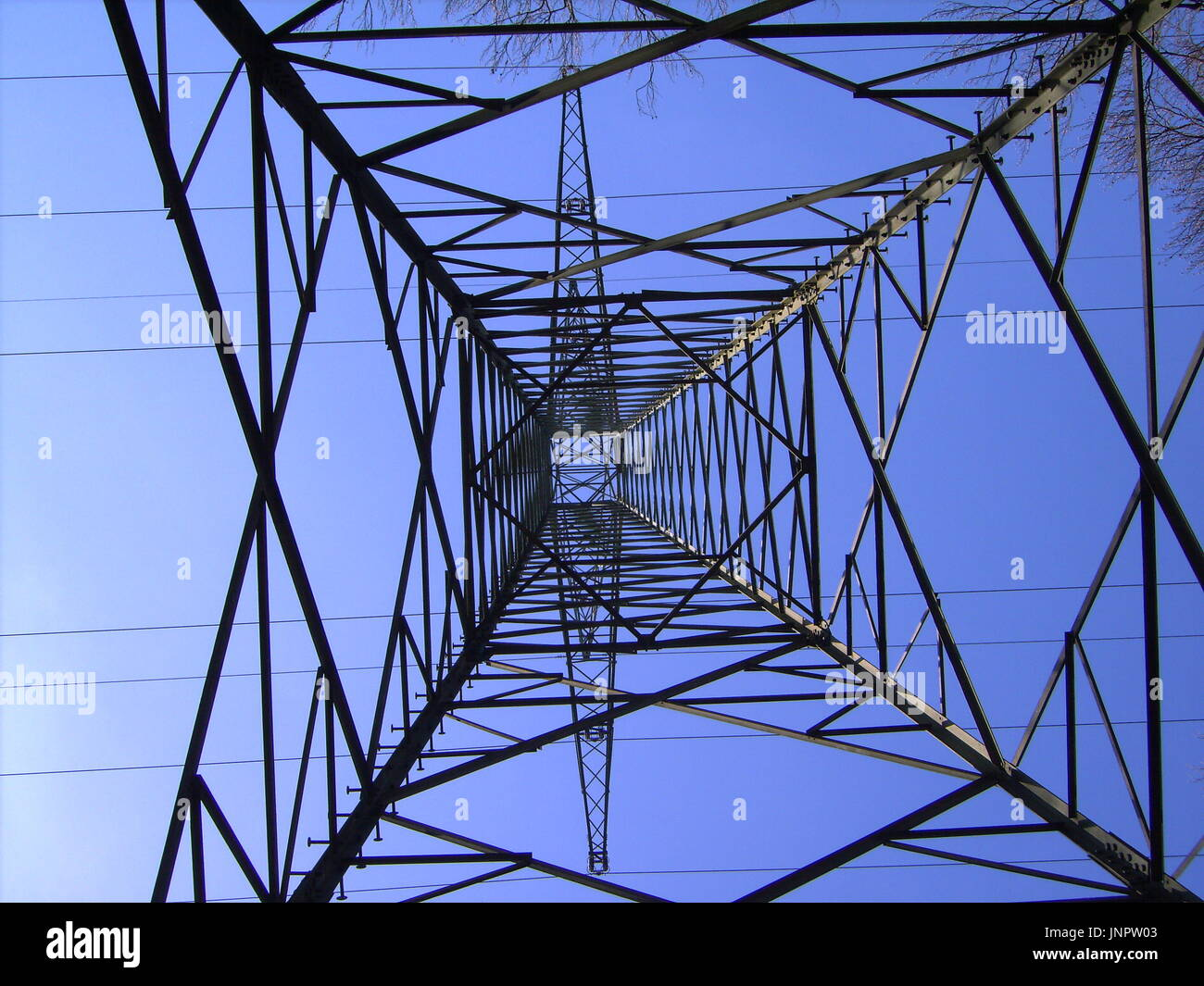 Electrical tower from above - Stock Image