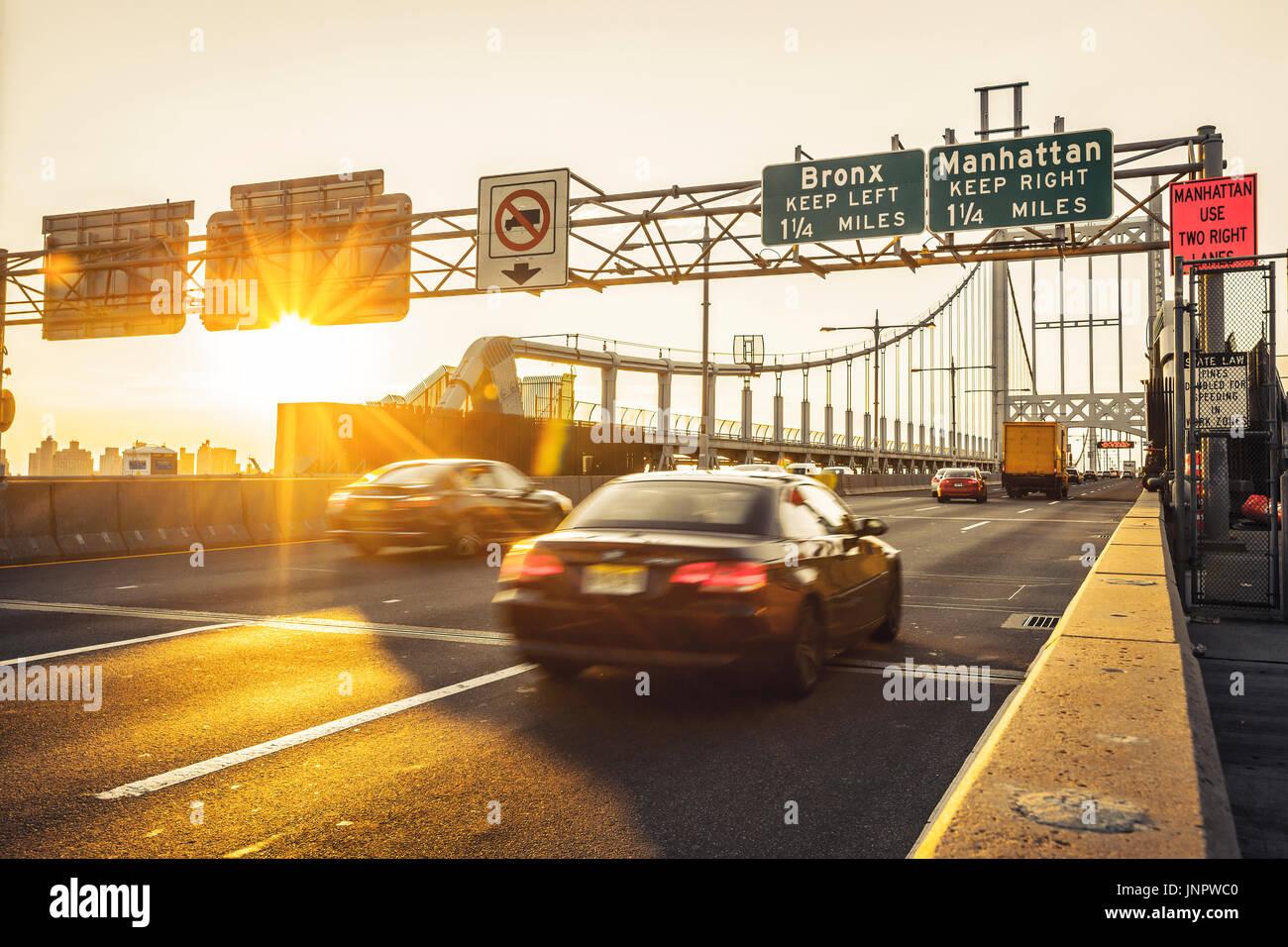 Traffic on Triborough Bridge, the Robert F. Kennedy Bridge in New York City - Stock Image