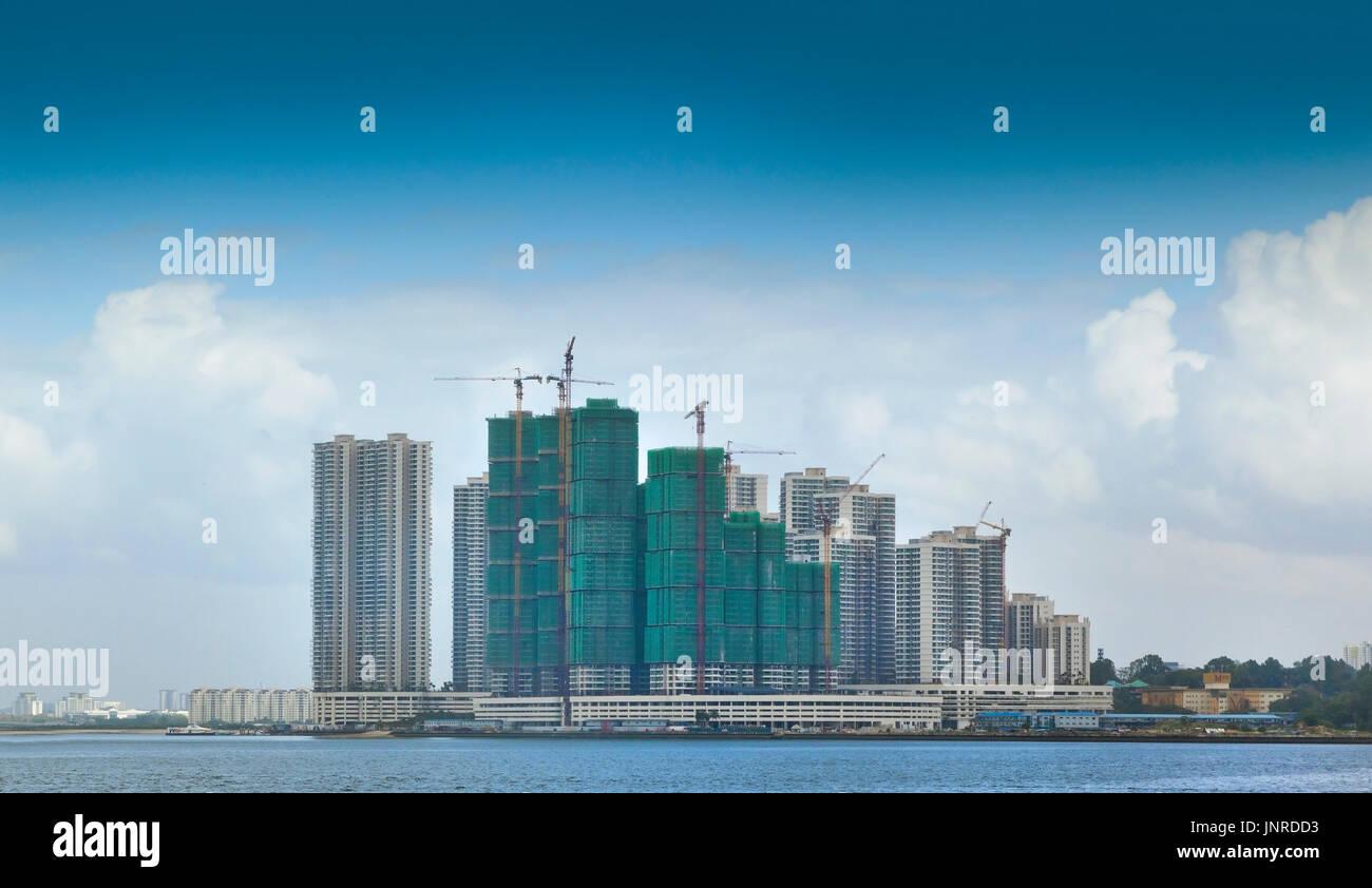 Johor Bahru new modern coastal development, viewed from Singapore - Stock Image