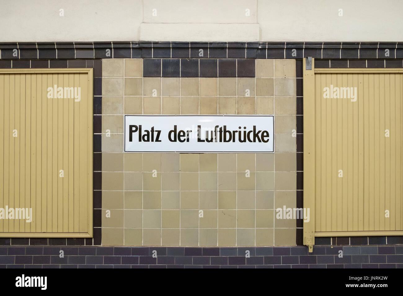 Station sign at subway station Platz der Luftbrucke, Berlin, Germany. - Stock Image
