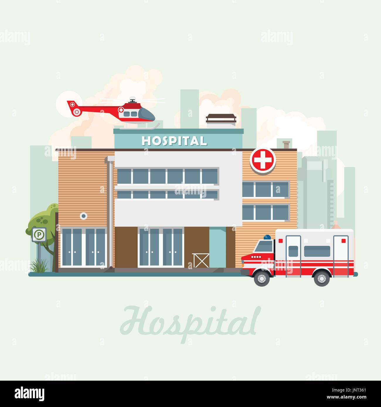 Hospital building vector illustration in flat design. Modern clinic with helicopter - Stock Image