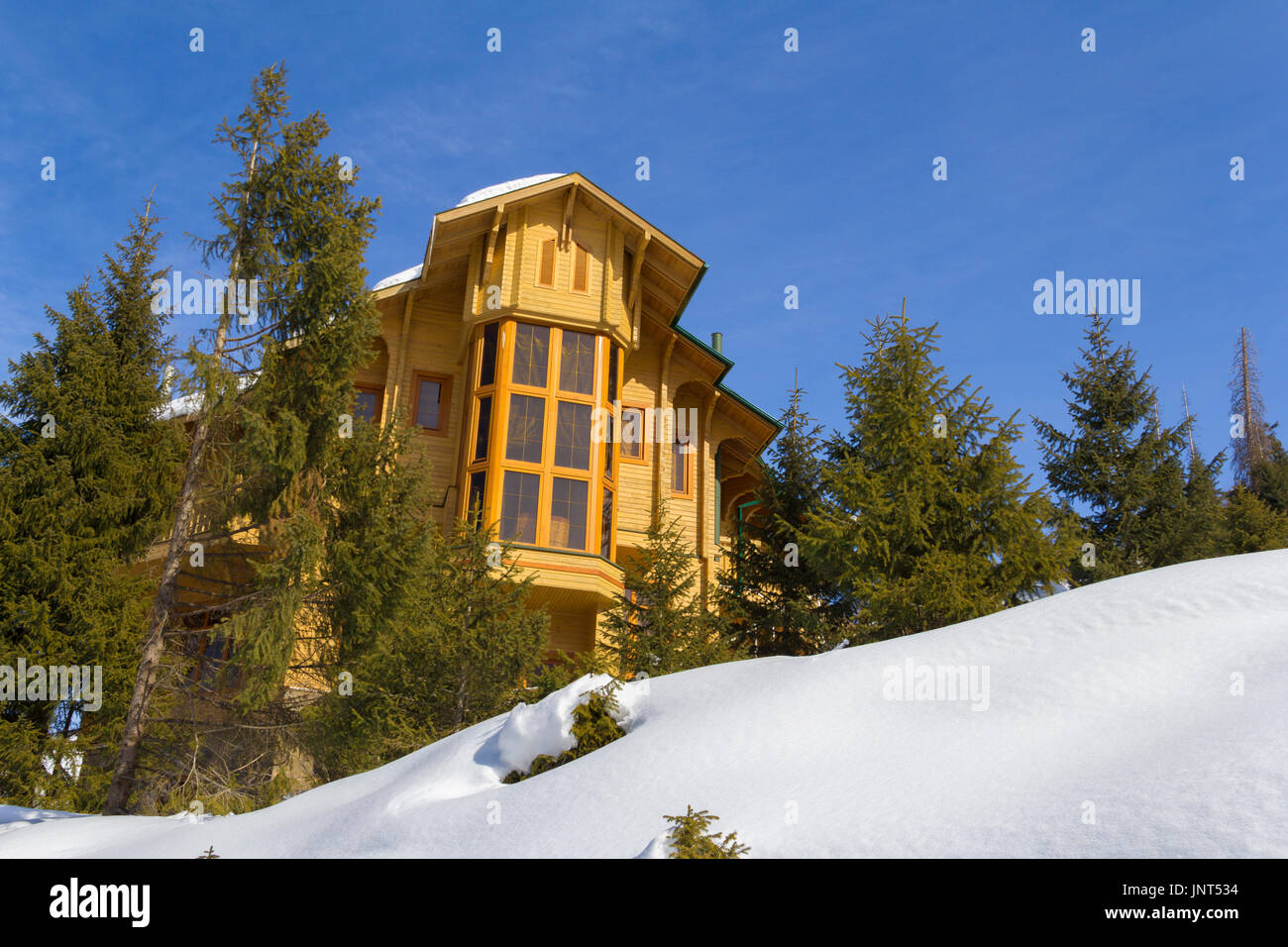 woodland, vacations, sky, nature, tree, hut, snow, forest, non-urban, house, cabin, mountain, scene, landscape, cold, alps, european, christmas, chale - Stock Image