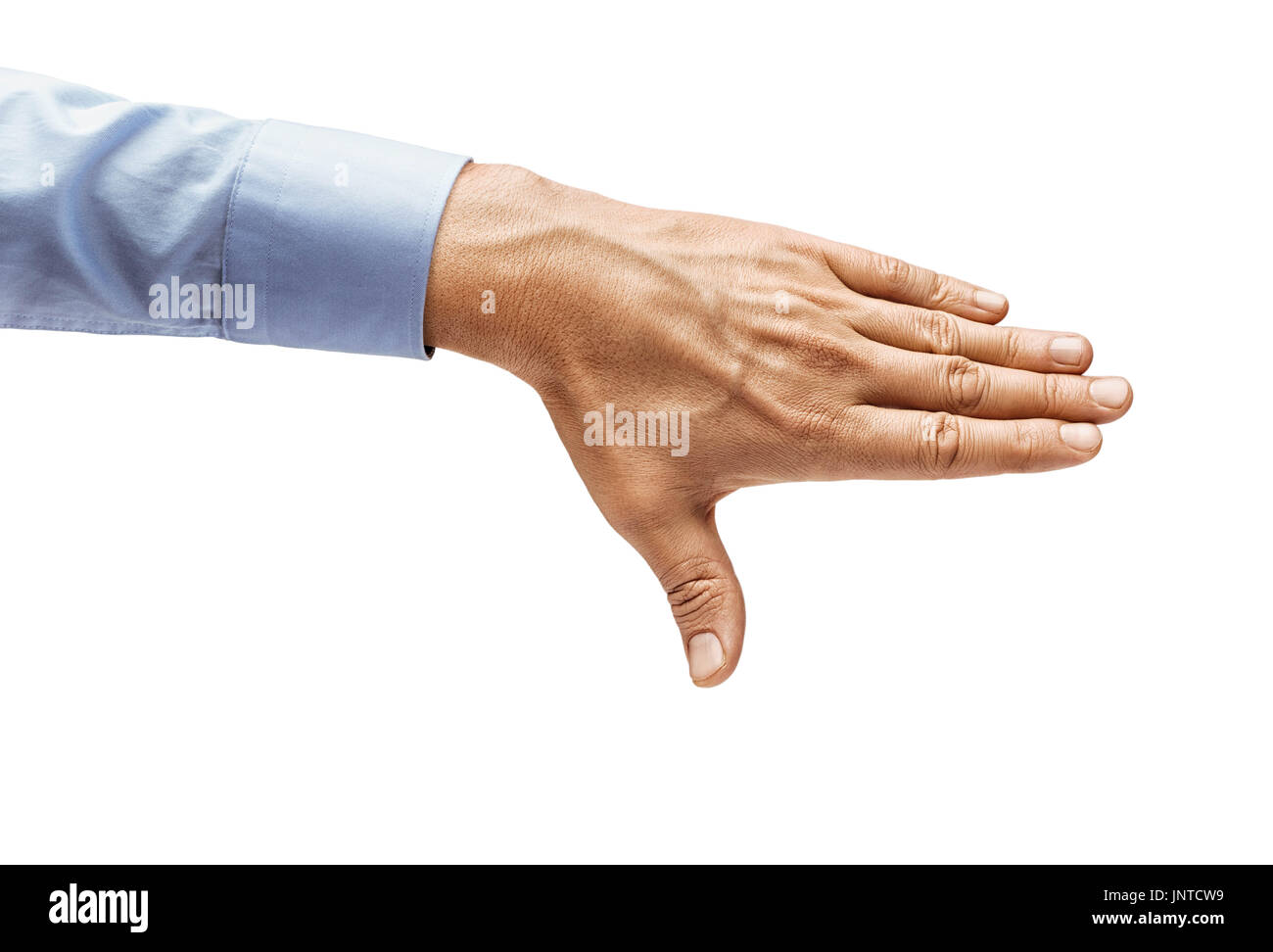 Man's hand in a shirt closes something isolated on white background. Close up. High resolution product - Stock Image