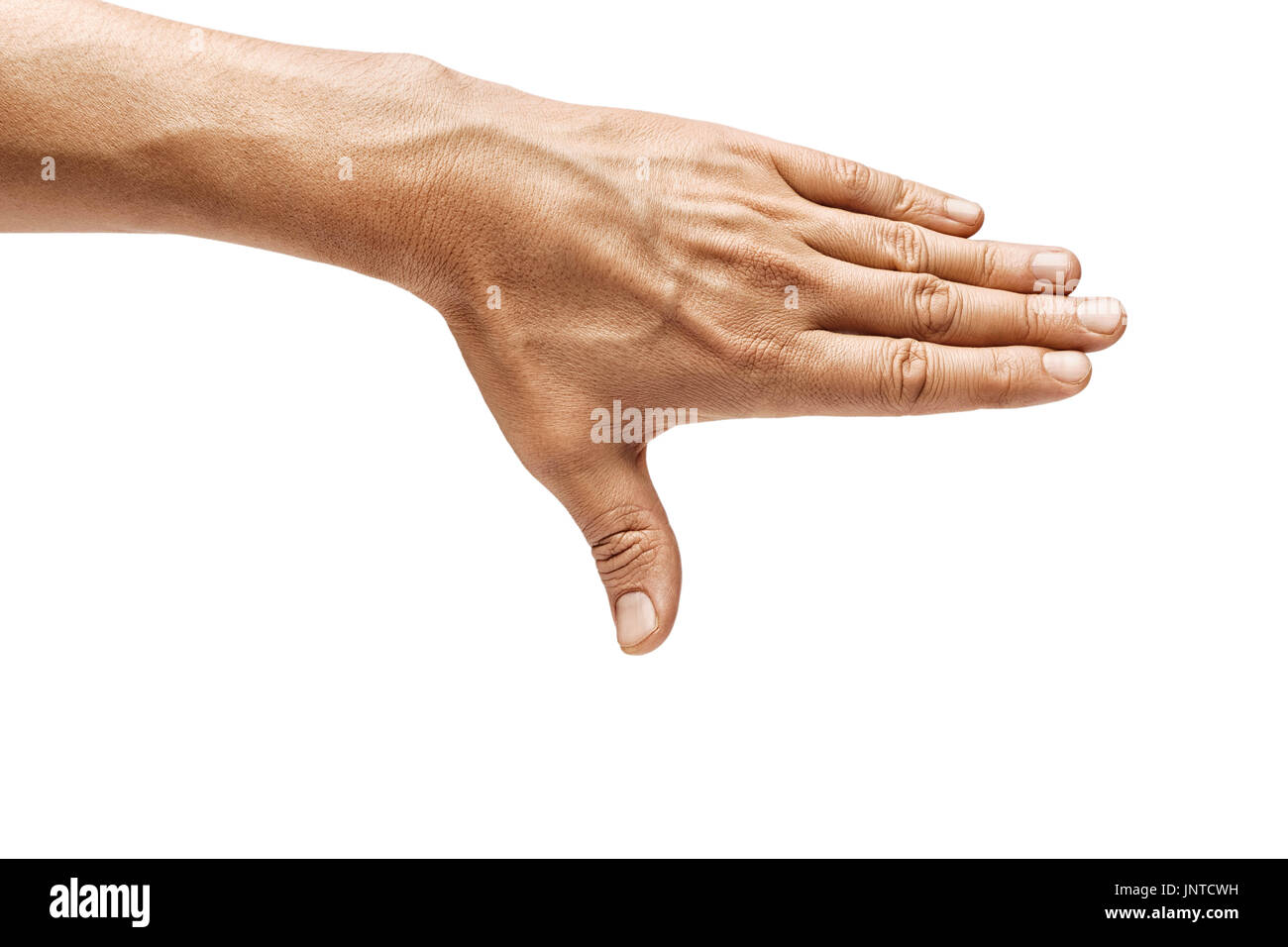 Man's hand closes something isolated on white background. Close up. High resolution product - Stock Image