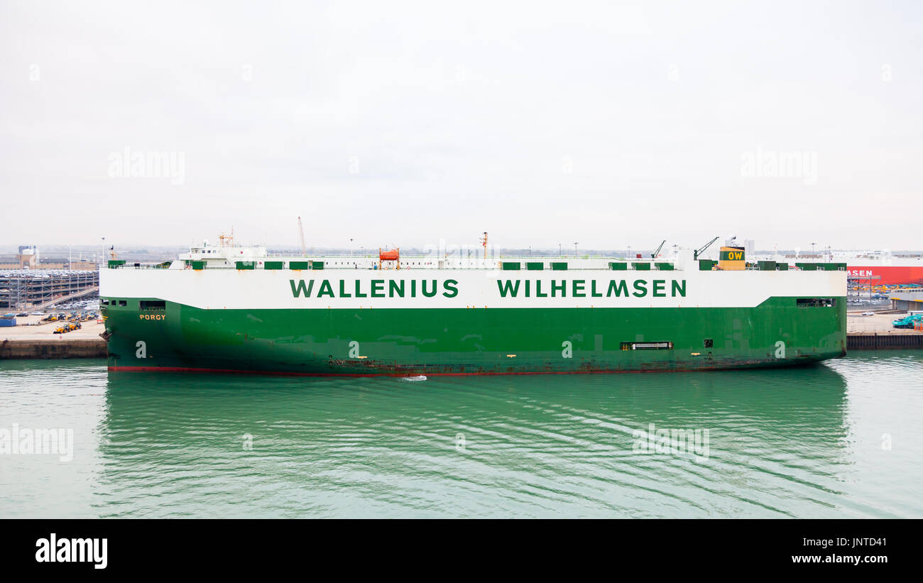 The vehicle carrier Porgy, docked in the port of Southampton, is owned by the Norwegian / Swedish shipping company Wallenius Wilhelmsen. - Stock Image