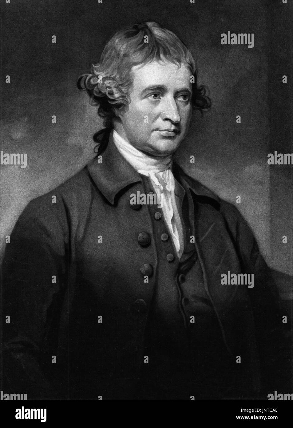 Edmund Burke (1729-1797), the Anglo-Irish statesman and philosopher, mezzotint engraving by John Jones from a portrait by George Romney - Stock Image