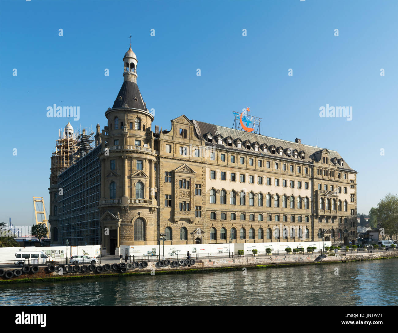 Istanbul, Turkey - April 27, 2017: Haydarpasha Railway Terminal, situated in the Bosphorus, Kadikoy, Istanbul, Turkey, - Stock Photo
