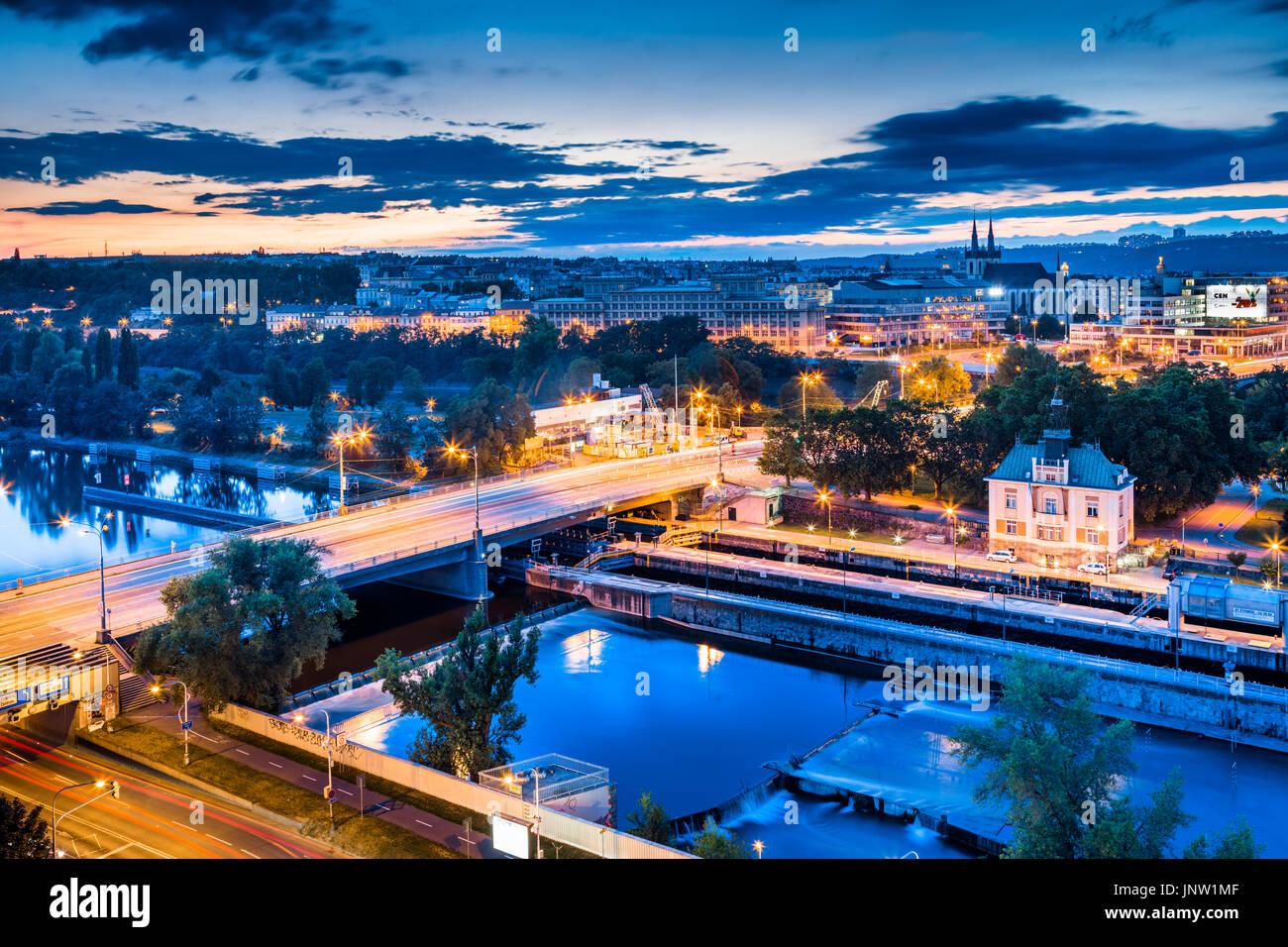 Europe, Czech Republic, Czechia, Prague, Praha, Historical Centre, City Skyline along Vltava River & Stvanice with Church of St. Anthony of Padova - Stock Image