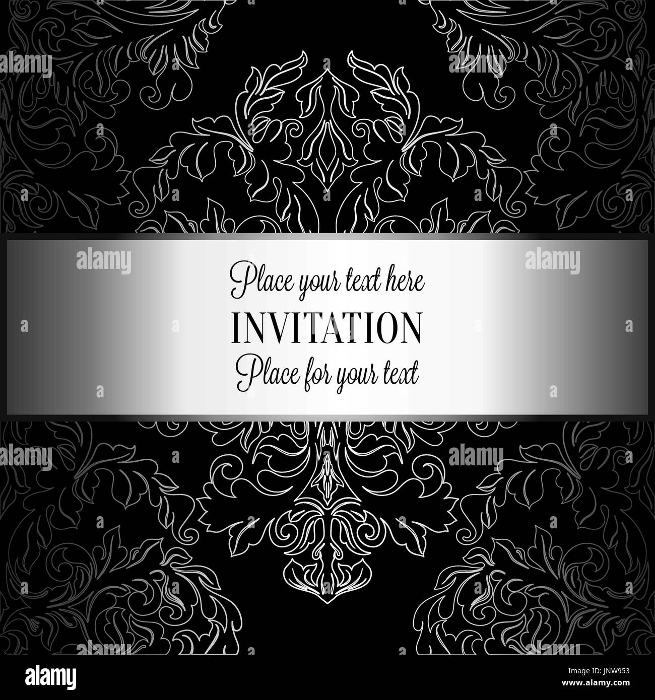 Baroque Background With Antique Luxury Black And White Vintage Frame Victorian Banner Damask Floral Wallpaper Ornaments Invitation Card S