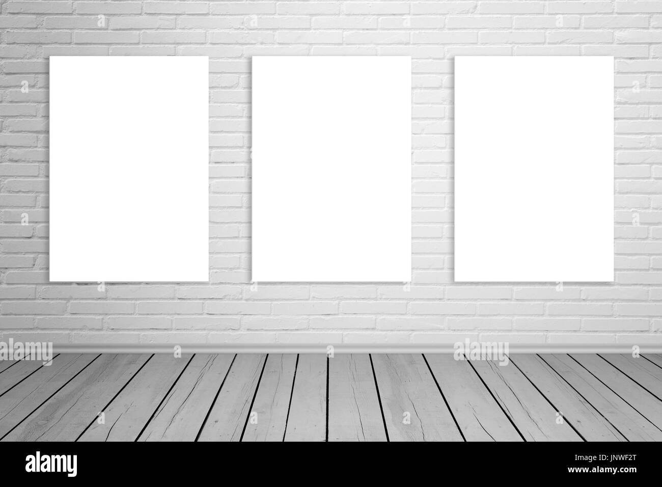 Three Isolated Art Canvas On Brick Wall For Mockup Empty Gallery Space Wooden Floor