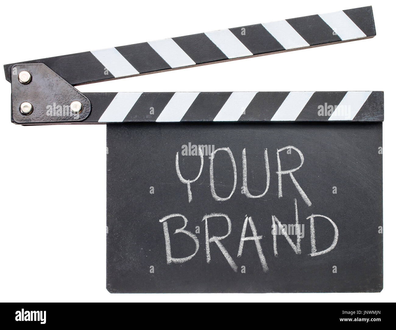 your brand movie title - text in white chalk on clapboard isolated on white - Stock Image