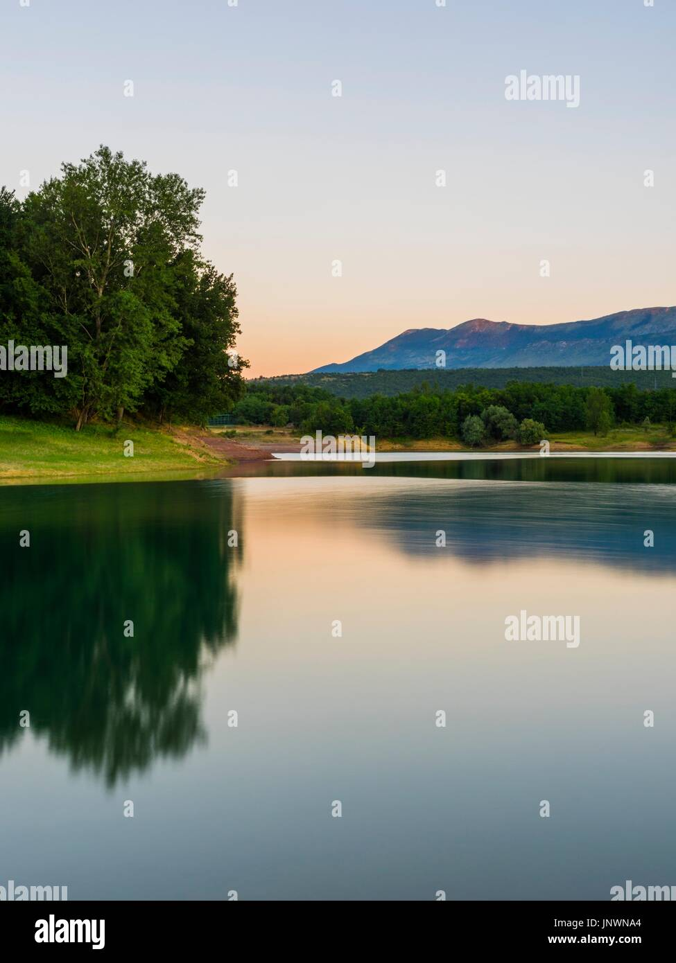 Peruca lake in Croatia dusk evening time calm calmness dramatic light Stock Photo