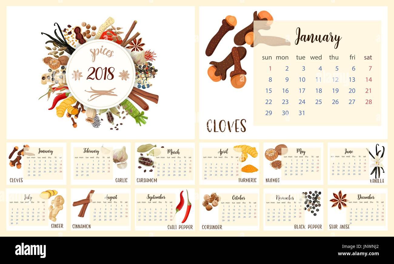 2018 Calendar Planner Design. Culinary spices. cloves, garlic, turmeric, cardamom, vanilla, nutmeg, cinnamon, chili pepper, coriander, ginger, black p - Stock Vector
