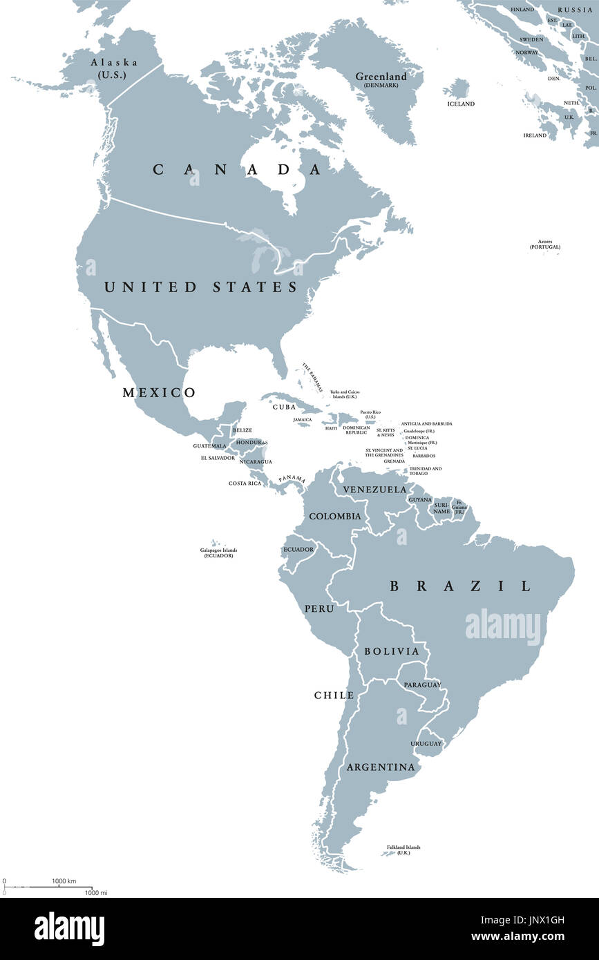 The Americas Political Map With Countries And Borders Of The Two Continents  North And South America