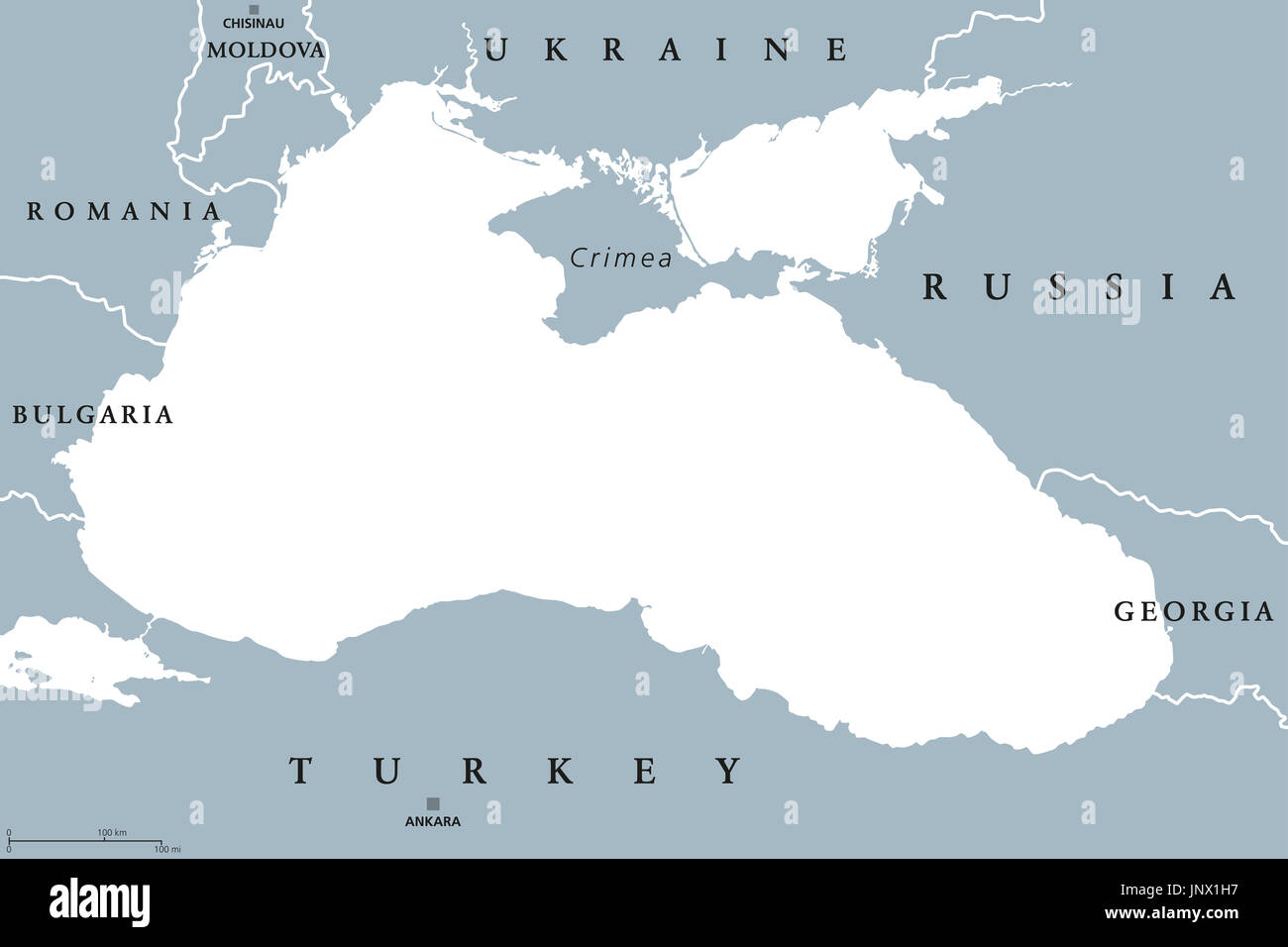 Black Sea and Sea of Azov region political map with capitals and borders. Body of water between Eastern Europe and Western Asia. Illustration. - Stock Image