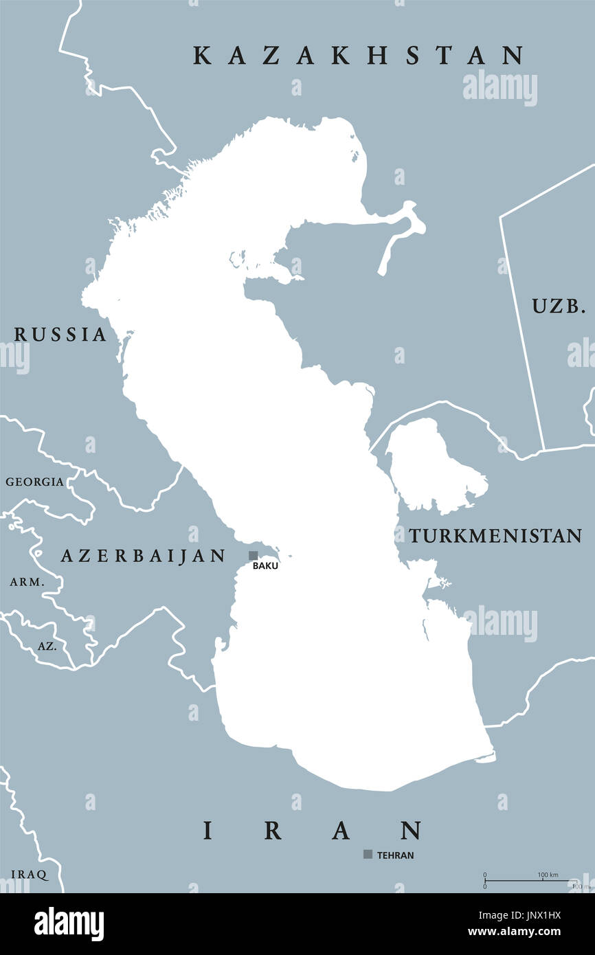 Caspian Sea region political map with borders and countries. Body of water, basin, and largest lake on earth between Europe and Asia. Illustration. - Stock Image