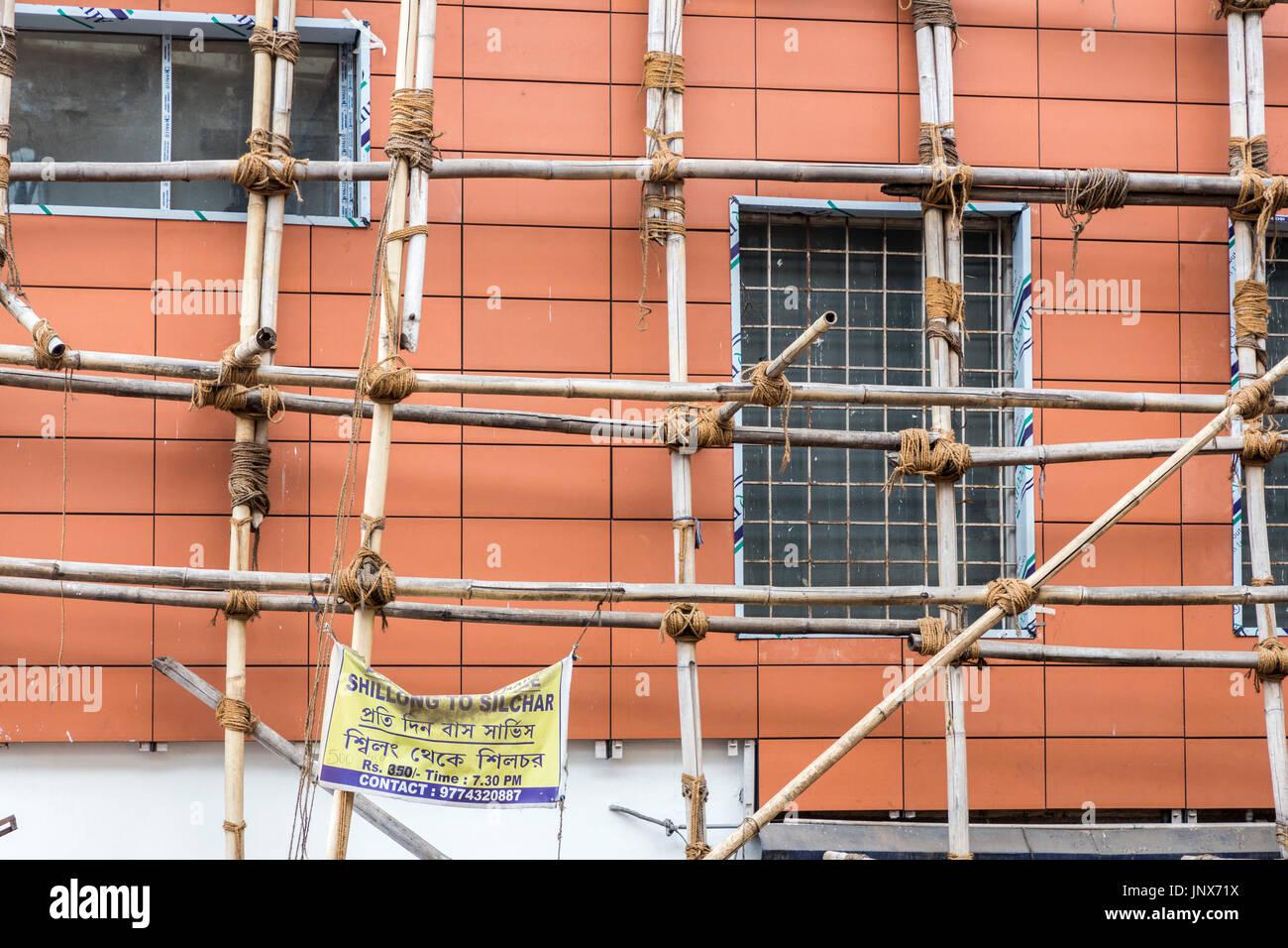 Bamboo scaffolding on building, Shillong, Meghalaya, India - Stock Image