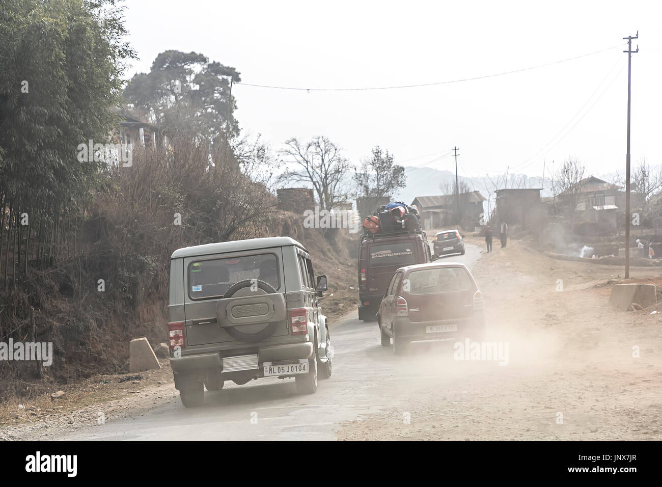 Dust in the air thrown up by traffic, Meghalaya, India - Stock Image