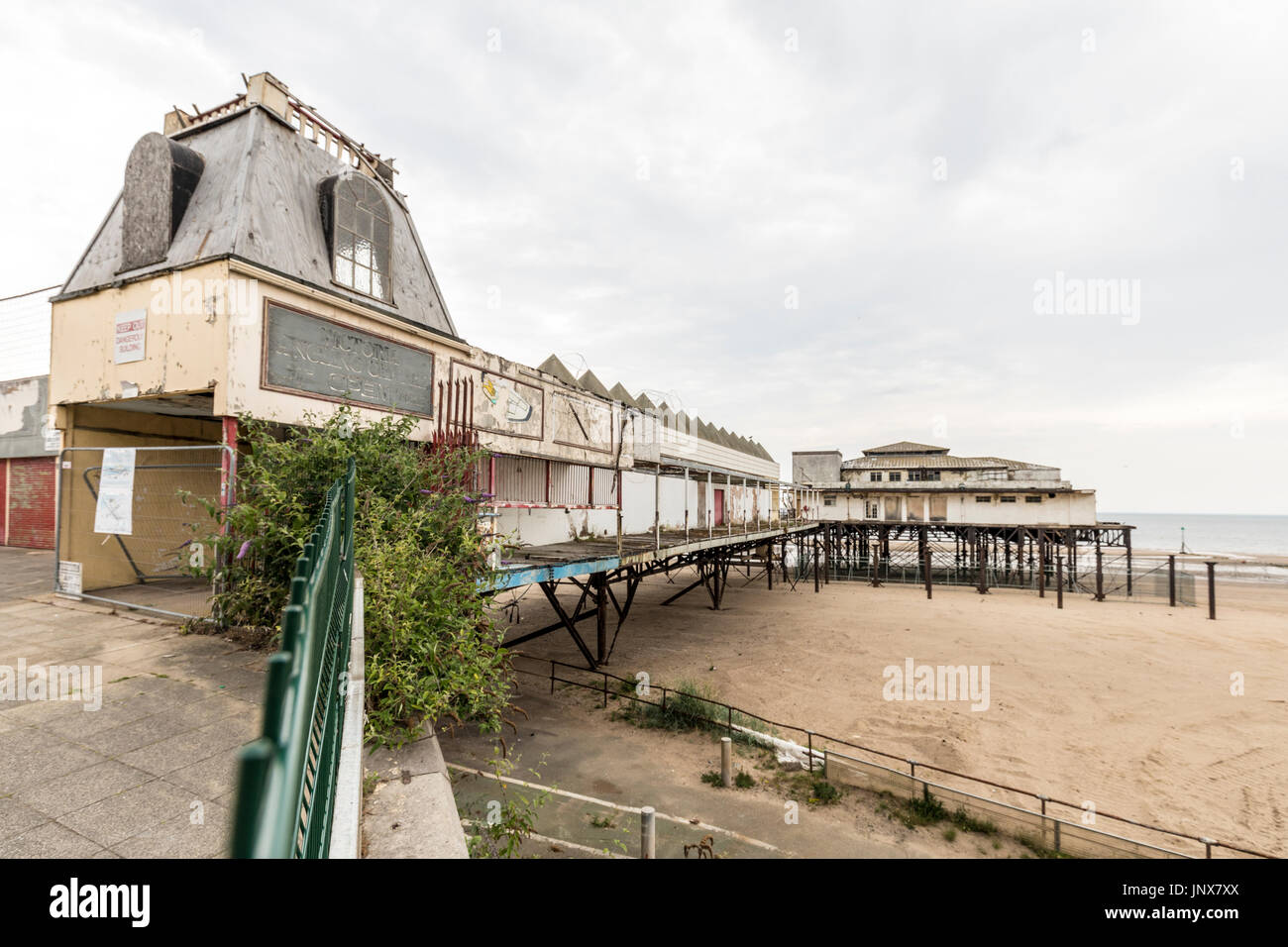 Remains of disused Victoria Pier, Colwyn Bay, Conwy, Wales, UK - Stock Image