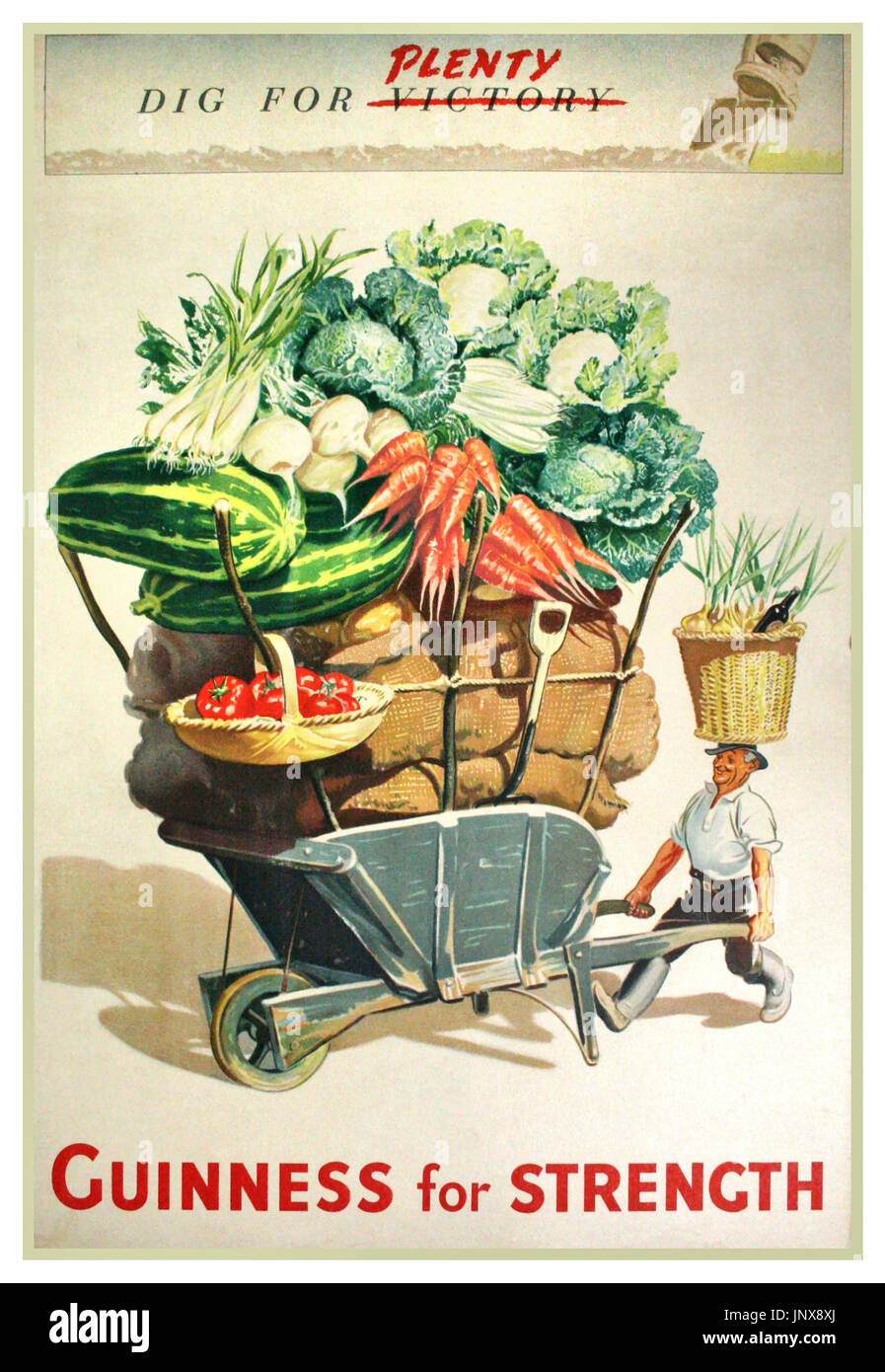 WW2 British Propaganda Advertising poster 1940's Dig for (Victory) Plenty  promoting Guinness for strength to dig for plenty and produce vegetables for victory - Stock Image
