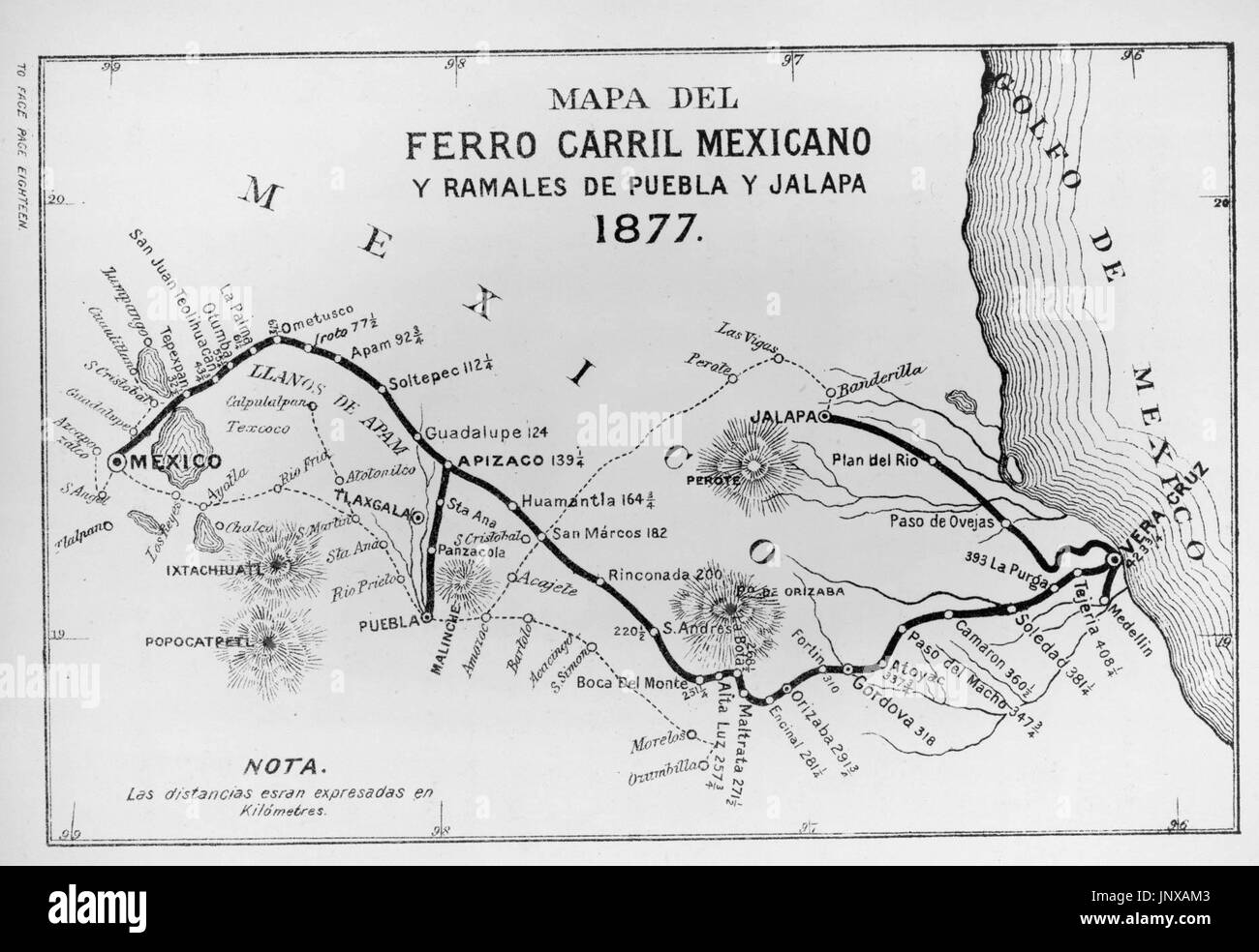 Map of first Mexican rail line between Veracruz and Mexico City - Stock Image