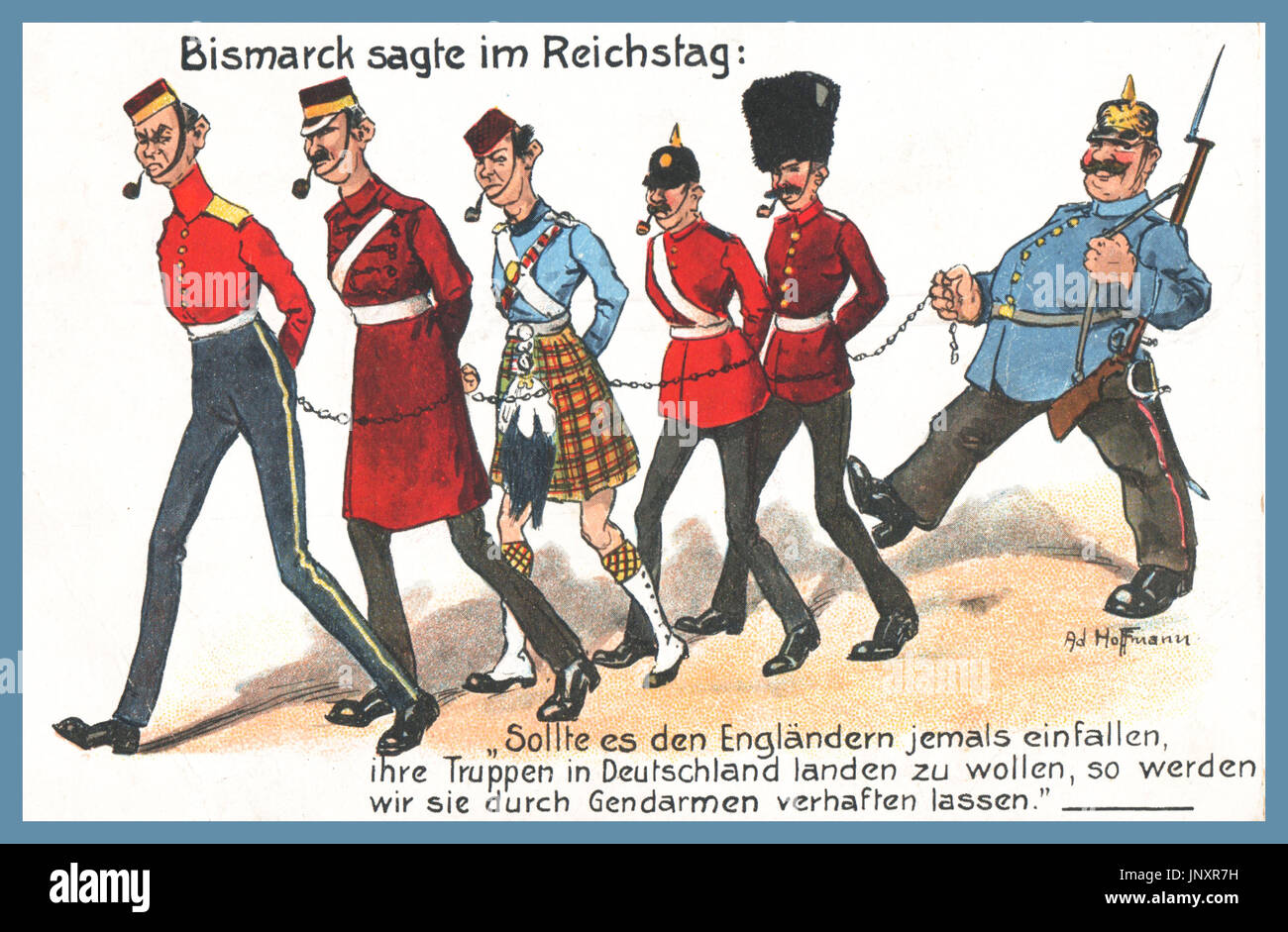 WW1 German Propaganda Postcard 'Bismarck sagte im Reichstag' 'Bismarck says in the Reichstag'...In the poster are caricatures of a German guard and five British soldiers chained to each other to make them look like dogs on a leash, a sign of how much contempt the  Germans held them in. The British soldiers are stereotypes they all have a pipe in their mouth and are wearing caricatured British military uniforms.  'BISMARK SAYS IN REICHSTAG '  ''Should the British ever want to land their troops in Germany, so we will have them arrested by gendarmes''  (German WW1 humour) - Stock Image
