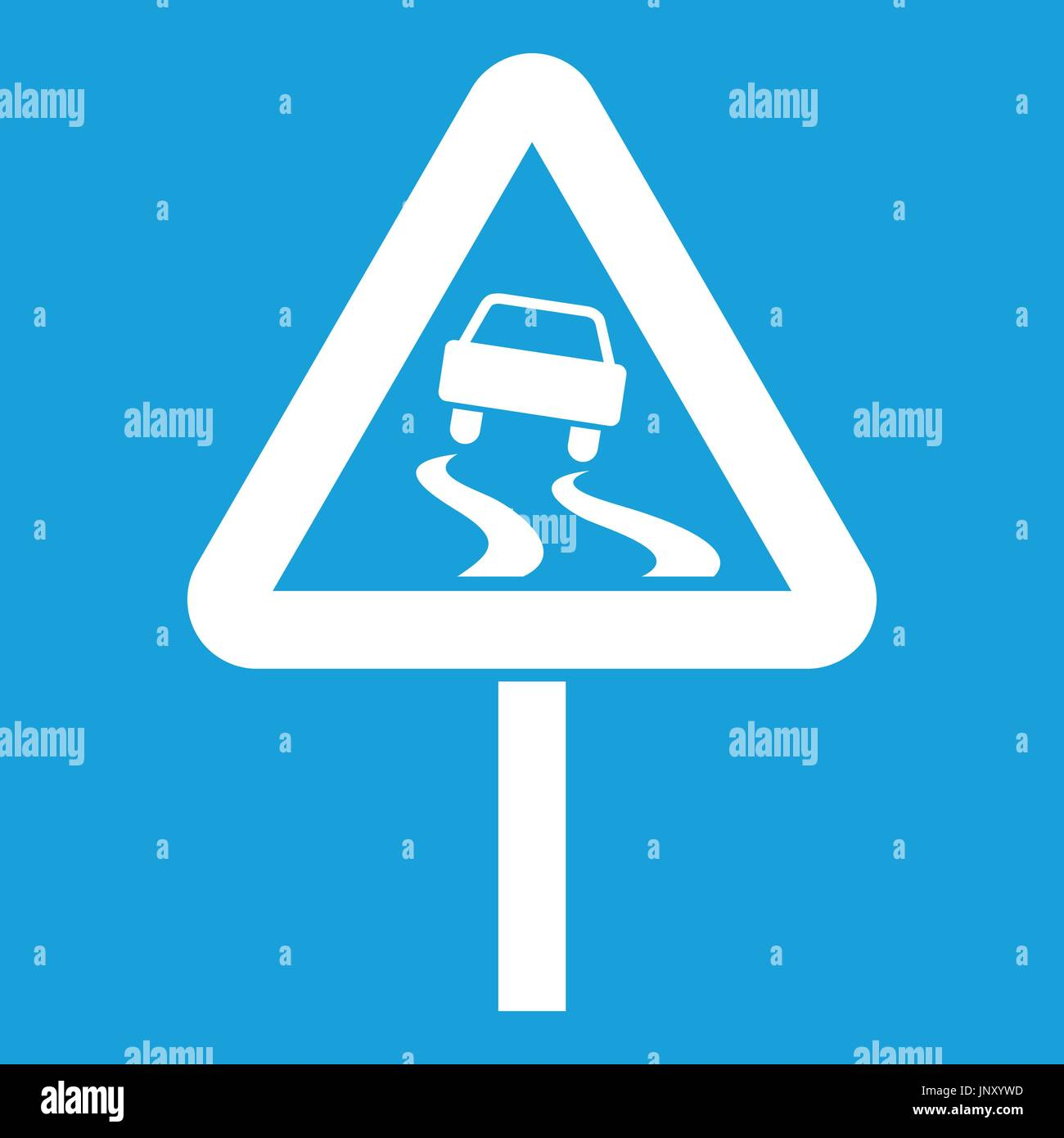 Slippery when wet road sign icon white - Stock Vector