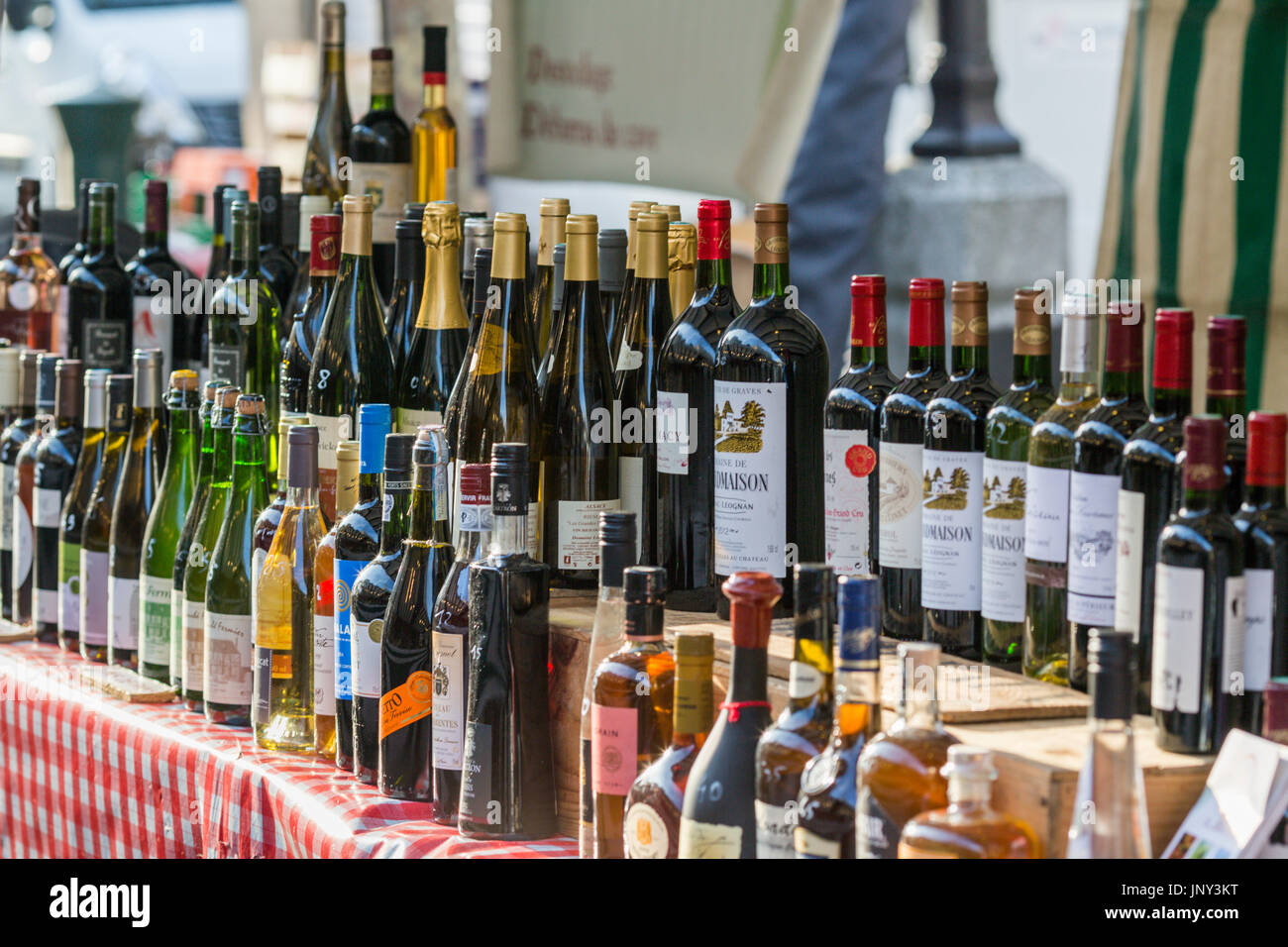 Paris. France - February 27, 2016: Wine for sale at the Saxe-Breteuil market in the 7th arrondissement of Paris. Stock Photo