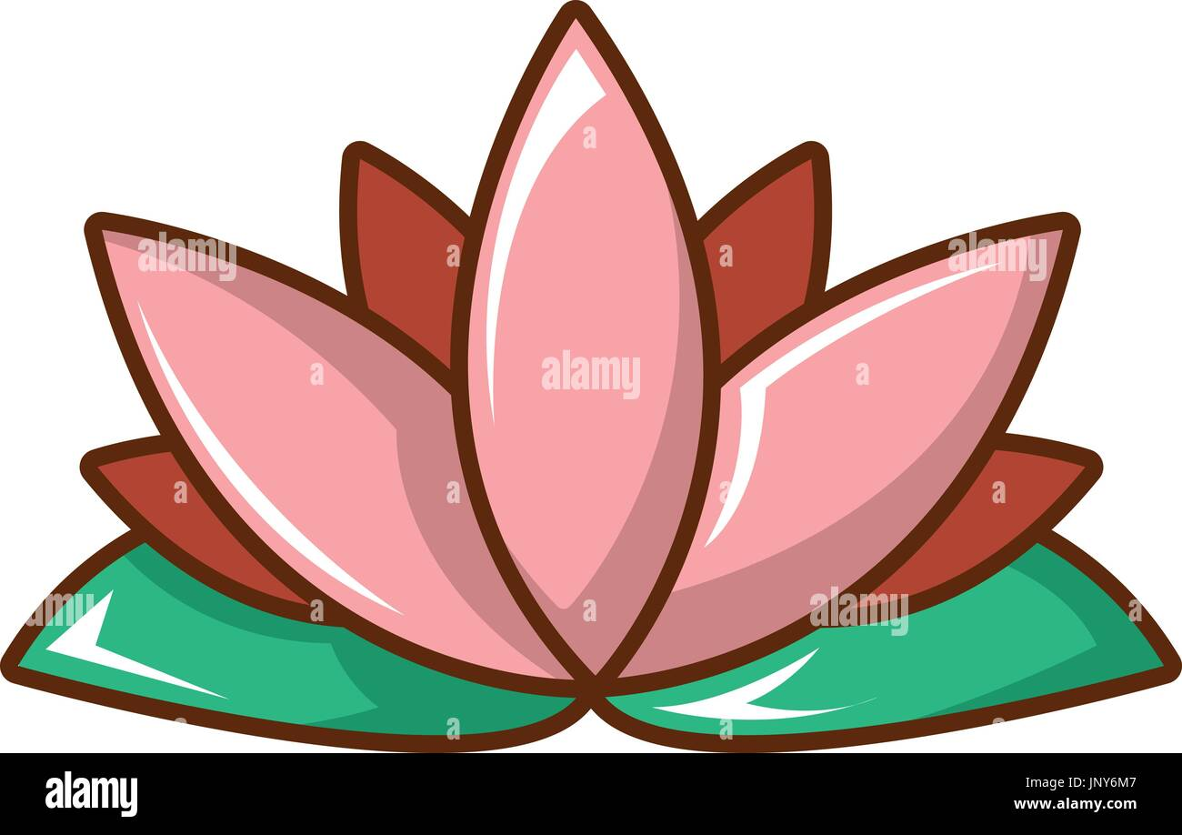 Lotus Flower Icon Cartoon Style Stock Vector Art Illustration