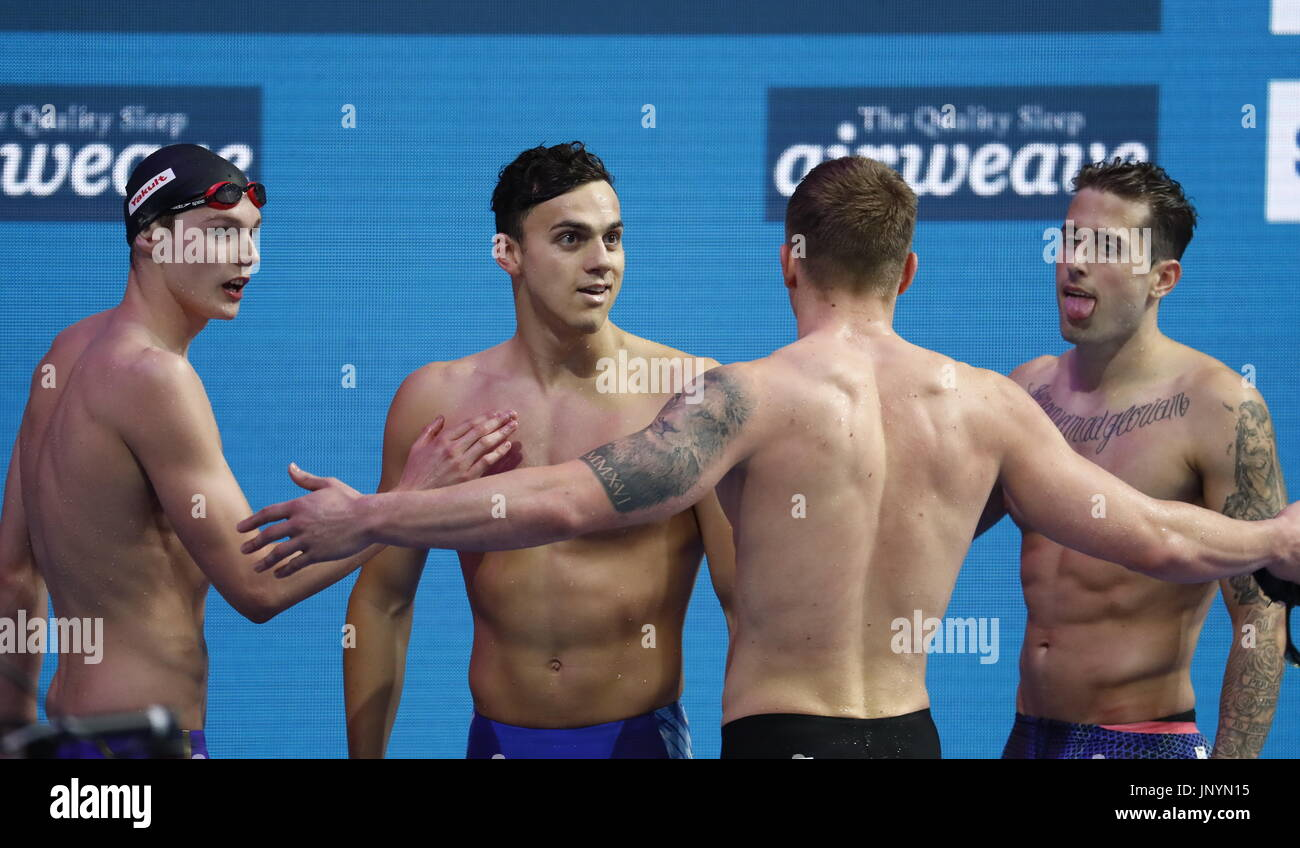 Budapest. 30th July, 2017. Team Britain celebrate after the men's 4x100m medley relay final at the 17th FINA World Championships held in Budapest, Hungary on July 30, 2017. Credit: Ding Xu/Xinhua/Alamy Live News - Stock Image