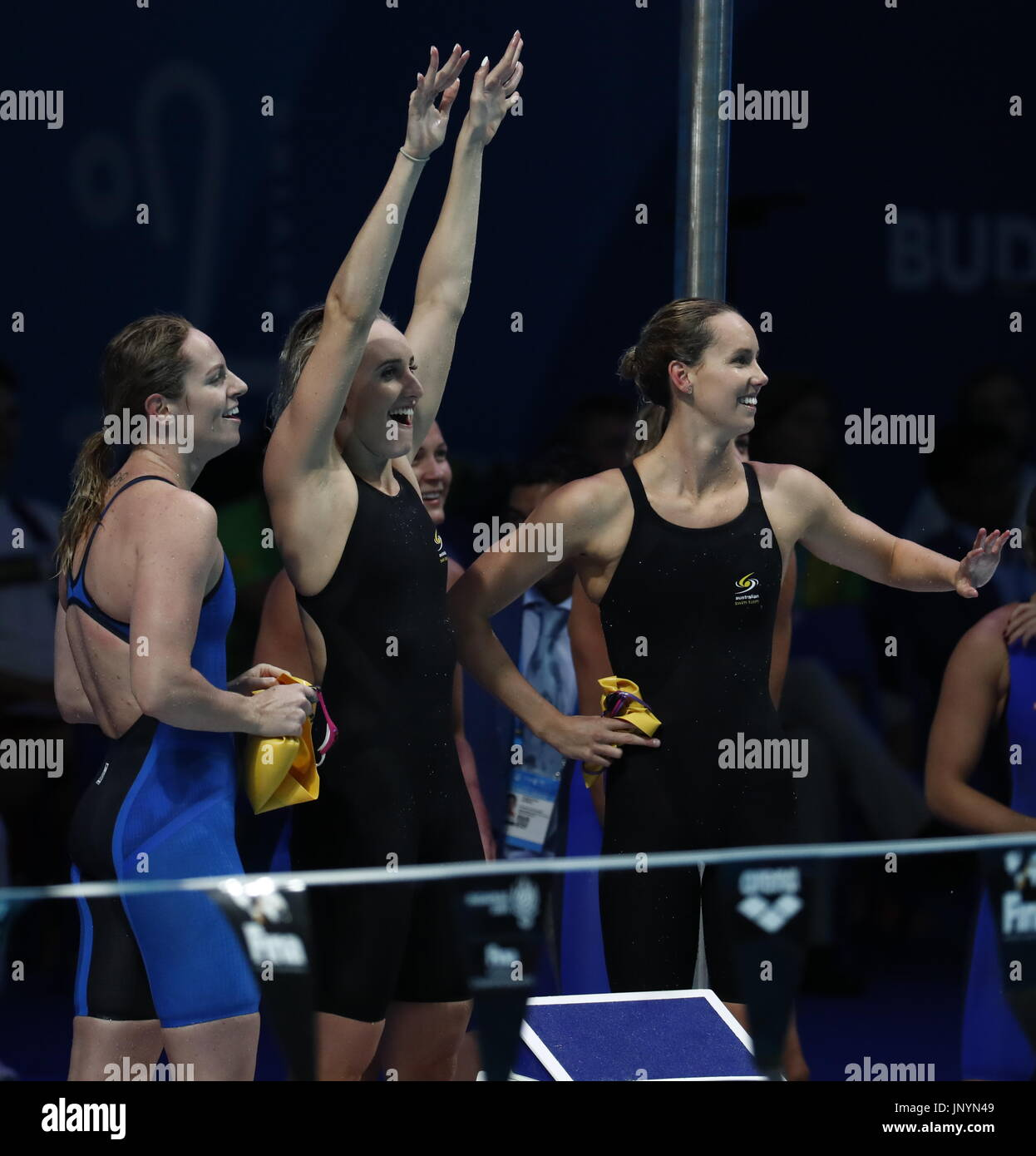 Budapest. 30th July, 2017. Team Australia celebrate after the women's 4x100m medley relay final at the 17th FINA World Championships held in Budapest, Hungary on July 30, 2017. Credit: Ding Xu/Xinhua/Alamy Live News - Stock Image