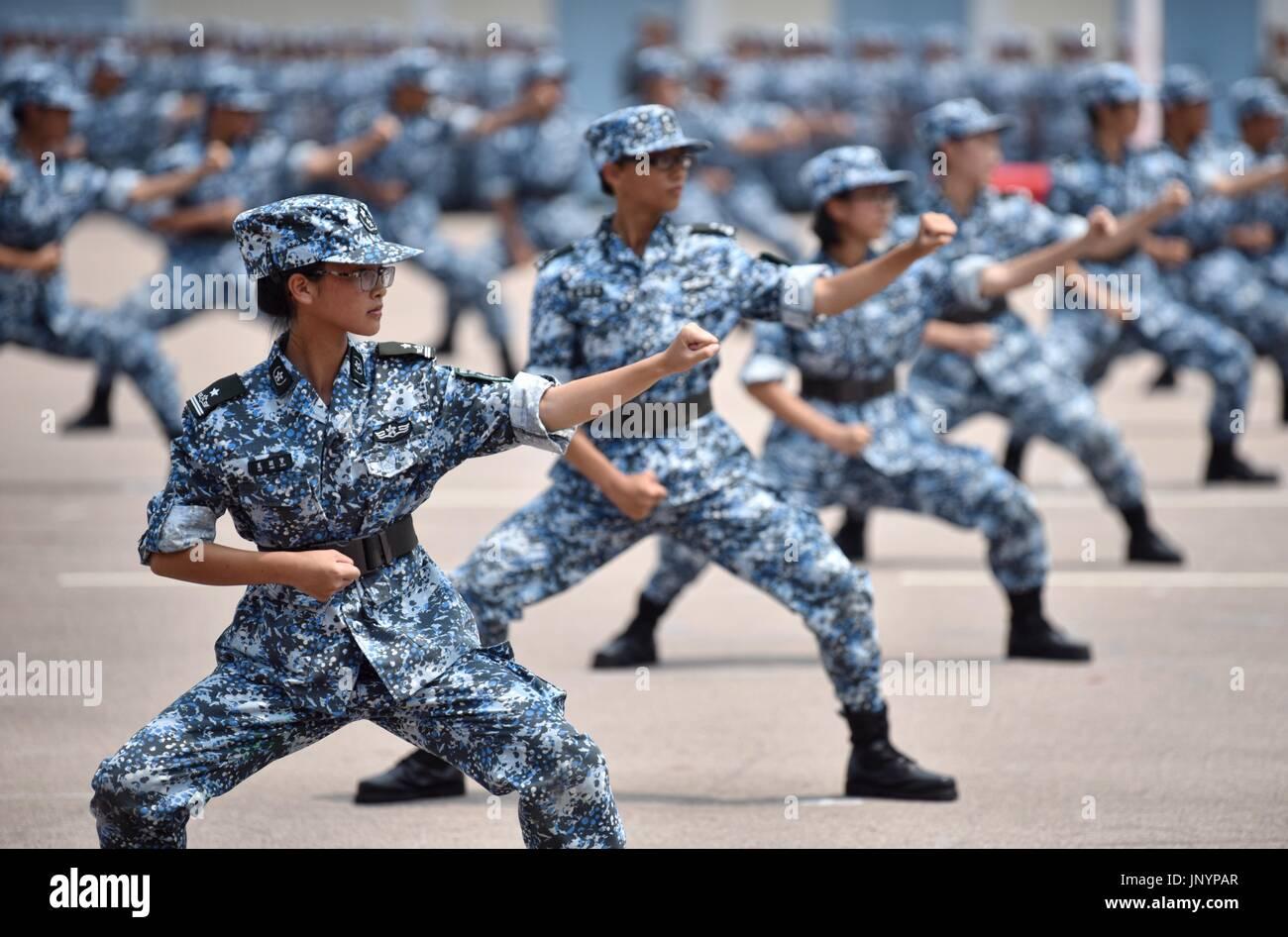 Hong Kong  30th July, 2017  Students perform military boxing