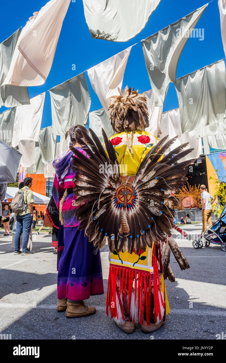 Vancouver, Canada. 30th Jul, 2017. Closing ceremonies at the Drum is Calling Festival, Canada 150  event, Larwill Park, Vancouver, British Columbia, Canada. Credit: Michael Wheatley/Alamy Live News - Stock Image