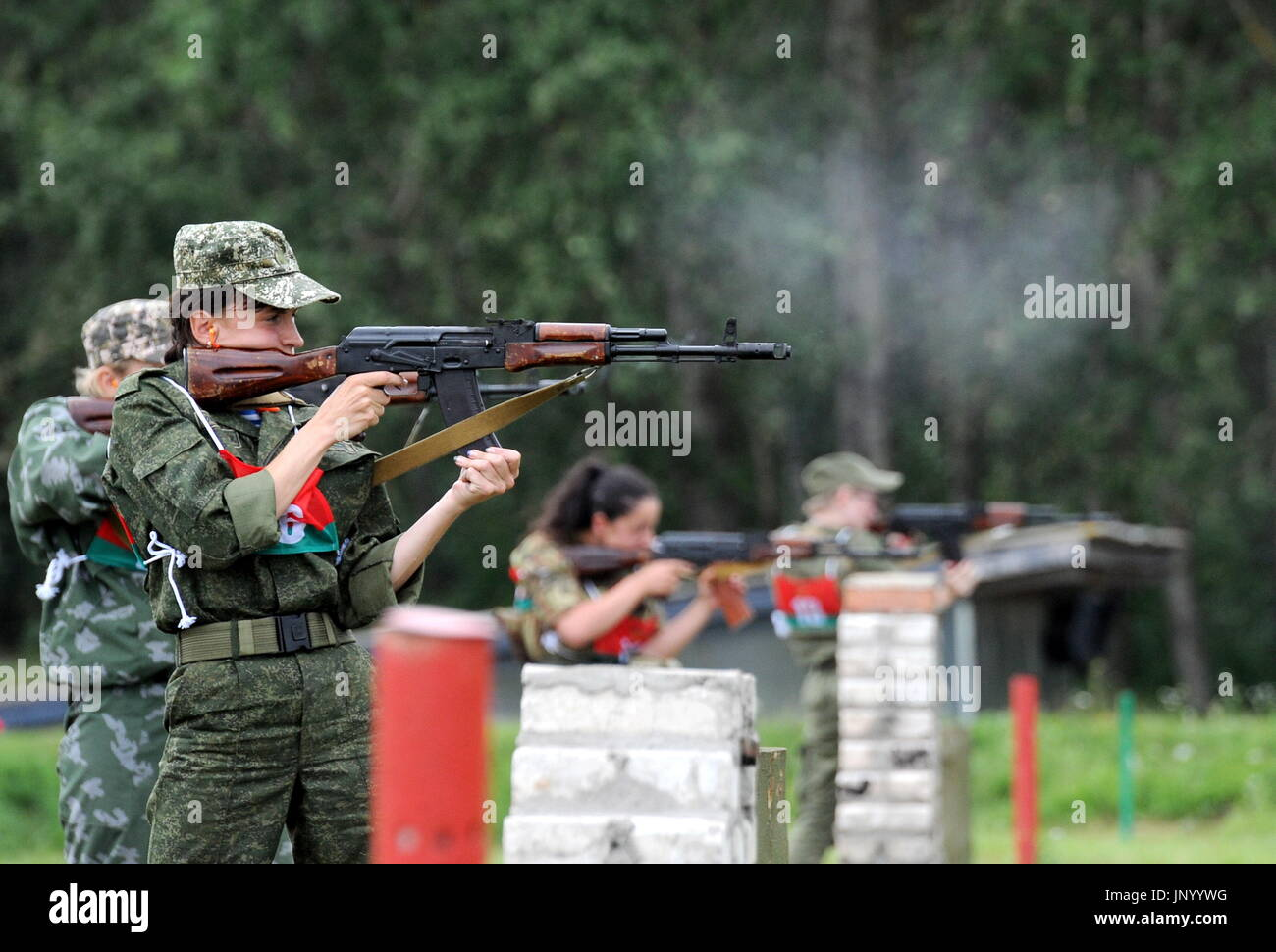 Minsk, Belarus. 31st July, 2017. Servicewomen participate in the Sniper marksmanship training contest as part of the Warrior of the Commonwealth stage of the 2017 International Army Games held by Russia's Defence Ministry. Credit: Viktor Drachev/TASS/Alamy Live News - Stock Image