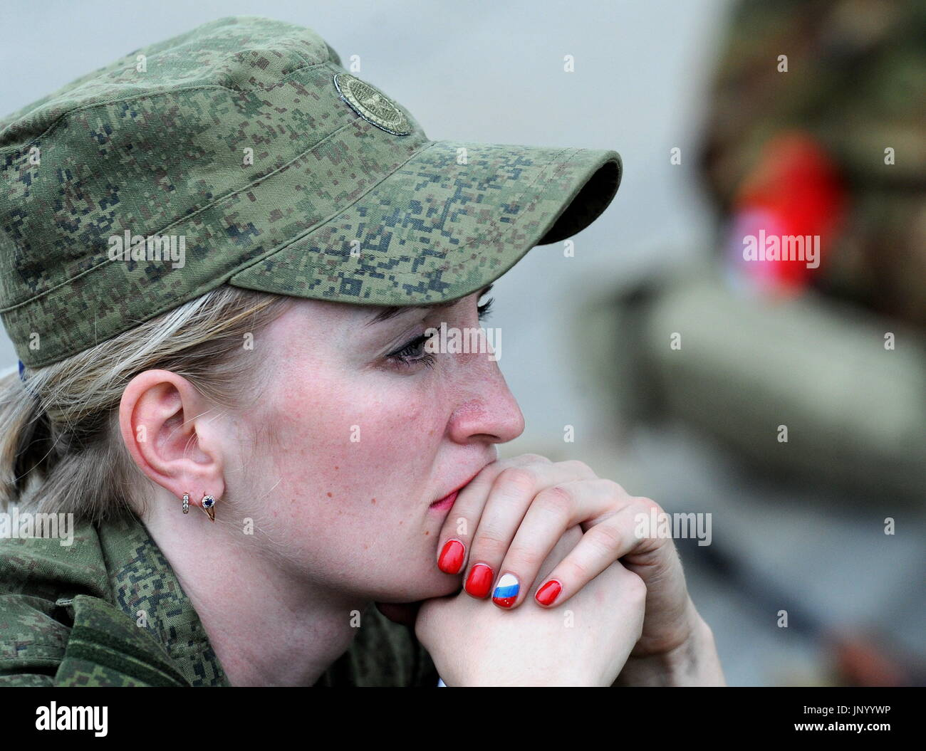 Minsk, Belarus. 31st July, 2017. A servicewoman participates in the Sniper marksmanship training contest as part of the Warrior of the Commonwealth stage of the 2017 International Army Games held by Russia's Defence Ministry. Credit: Viktor Drachev/TASS/Alamy Live News - Stock Image