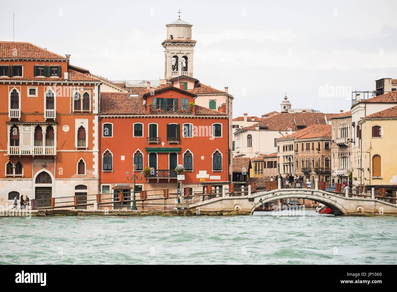Venice, Italy - April 23, 2012: Campo de l'Agnese seen from the Giudecca Canal, Venice, Italy. - Stock Image