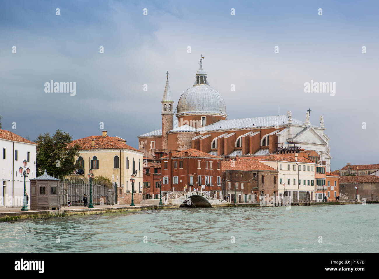 Venice, Italy - April 23, 2012: Church of Il Santissimo Redentore, from the Giudecca Canal, Venice, Italy, a 16th-century church designed by Palladio. - Stock Image