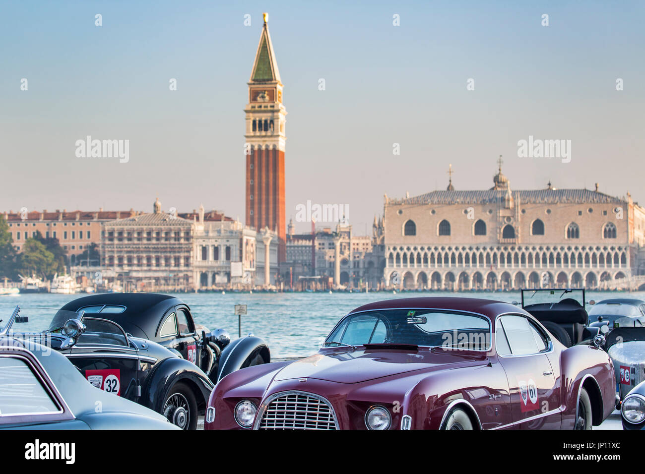 Venice, Italy - April 27, 2012: A vintage car show on the Isola de ...