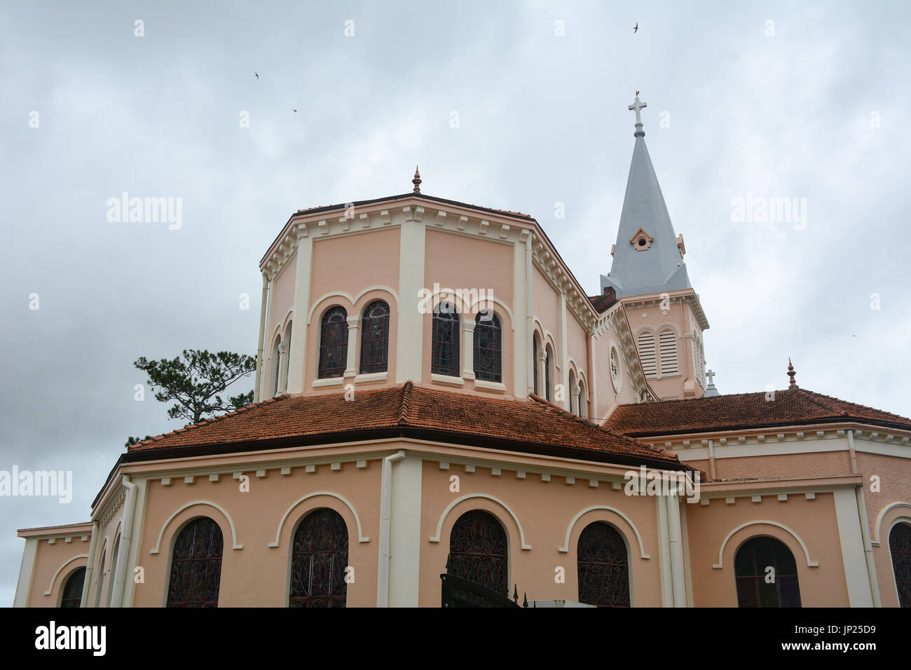 Top of Nicholas of Bari Cathedral (Church of Chicken) in Dalat, Vietnam. It is a Roman Catholic cathedral, seat of the diocese of Da Lat, suffragan of - Stock Image