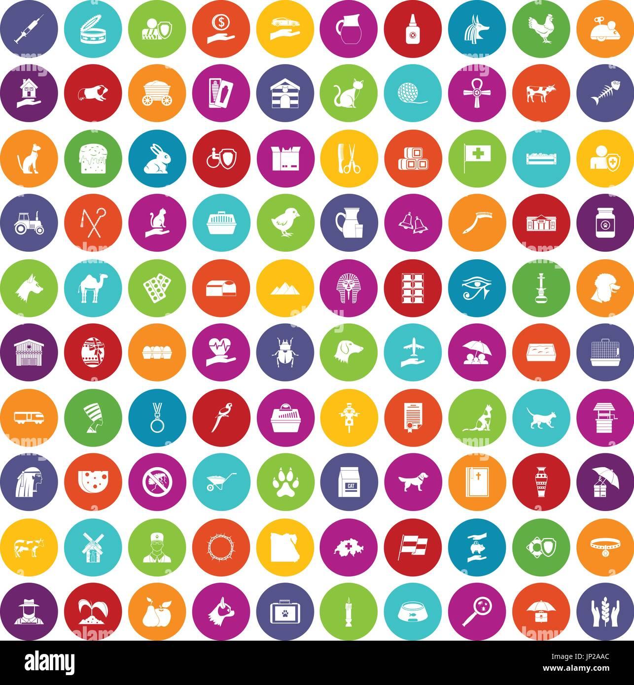 100 pets icons set color - Stock Image