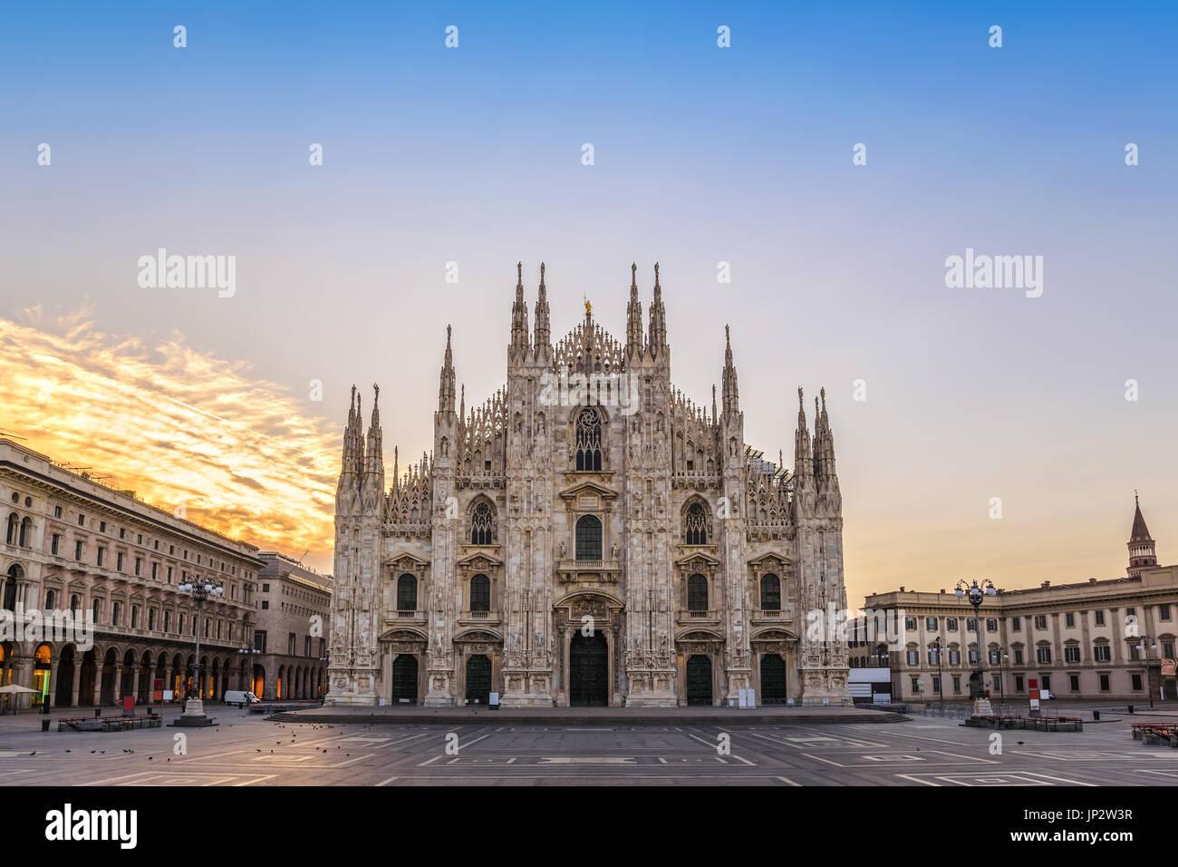 Milan Cathedral (Milan Duomo) when sunrise, Milan (Milano), Italy - Stock Image